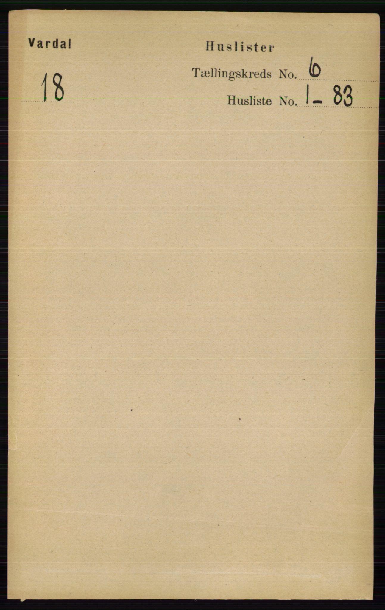 RA, Folketelling 1891 for 0527 Vardal herred, 1891, s. 2282