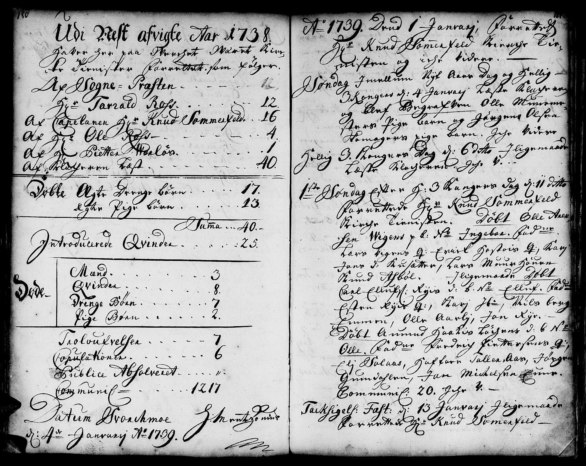 SAT, Ministerialprotokoller, klokkerbøker og fødselsregistre - Sør-Trøndelag, 671/L0839: Ministerialbok nr. 671A01, 1730-1755, s. 180-181