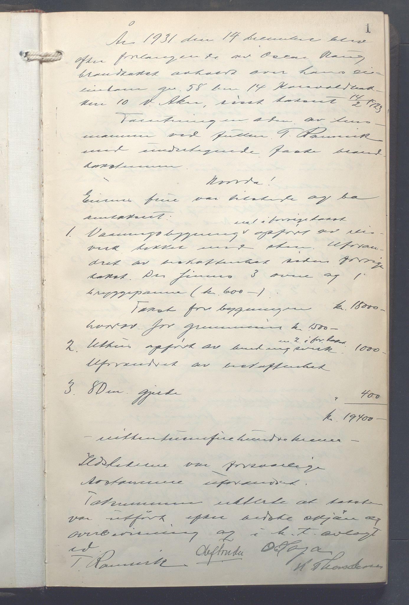 OBA, Lensmennene i Aker, F/Fa/L0025: Branntakstprotokoll, 1931-1935, s. 1