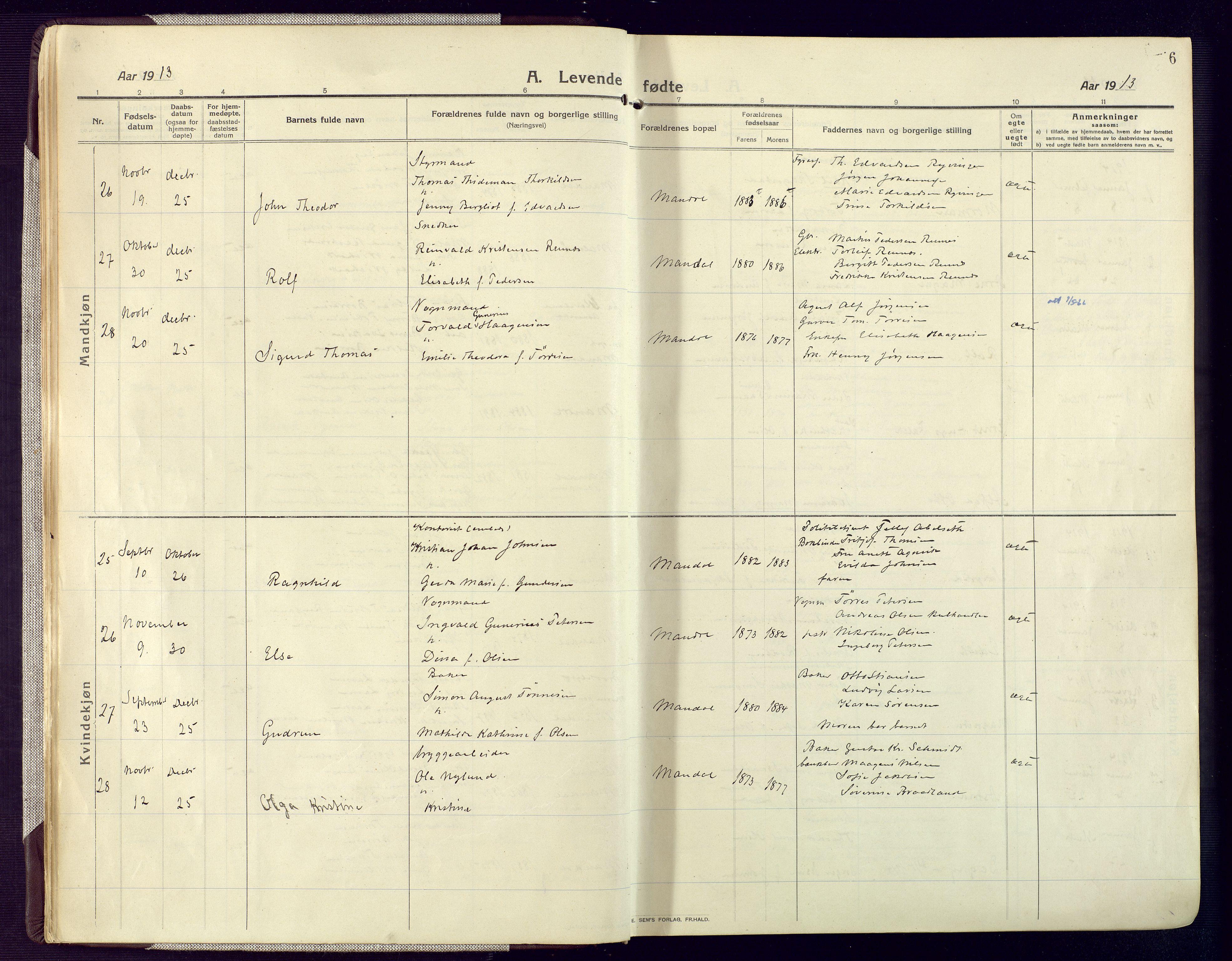 SAK, Mandal sokneprestkontor, F/Fa/Fac/L0001: Ministerialbok nr. A 1, 1913-1925, s. 6