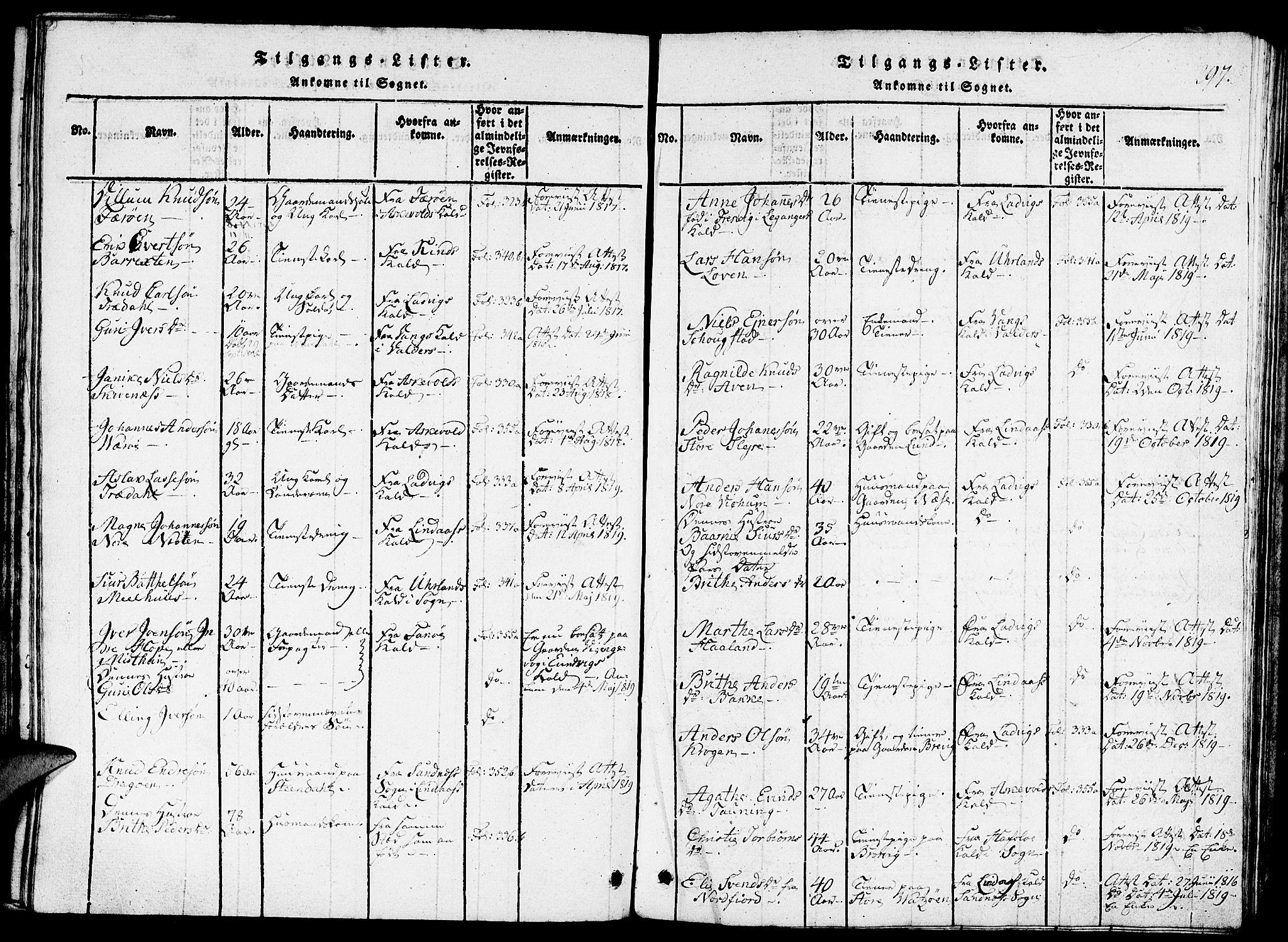 SAB, Gulen Sokneprestembete, Ministerialbok nr. A 18, 1816-1825, s. 297