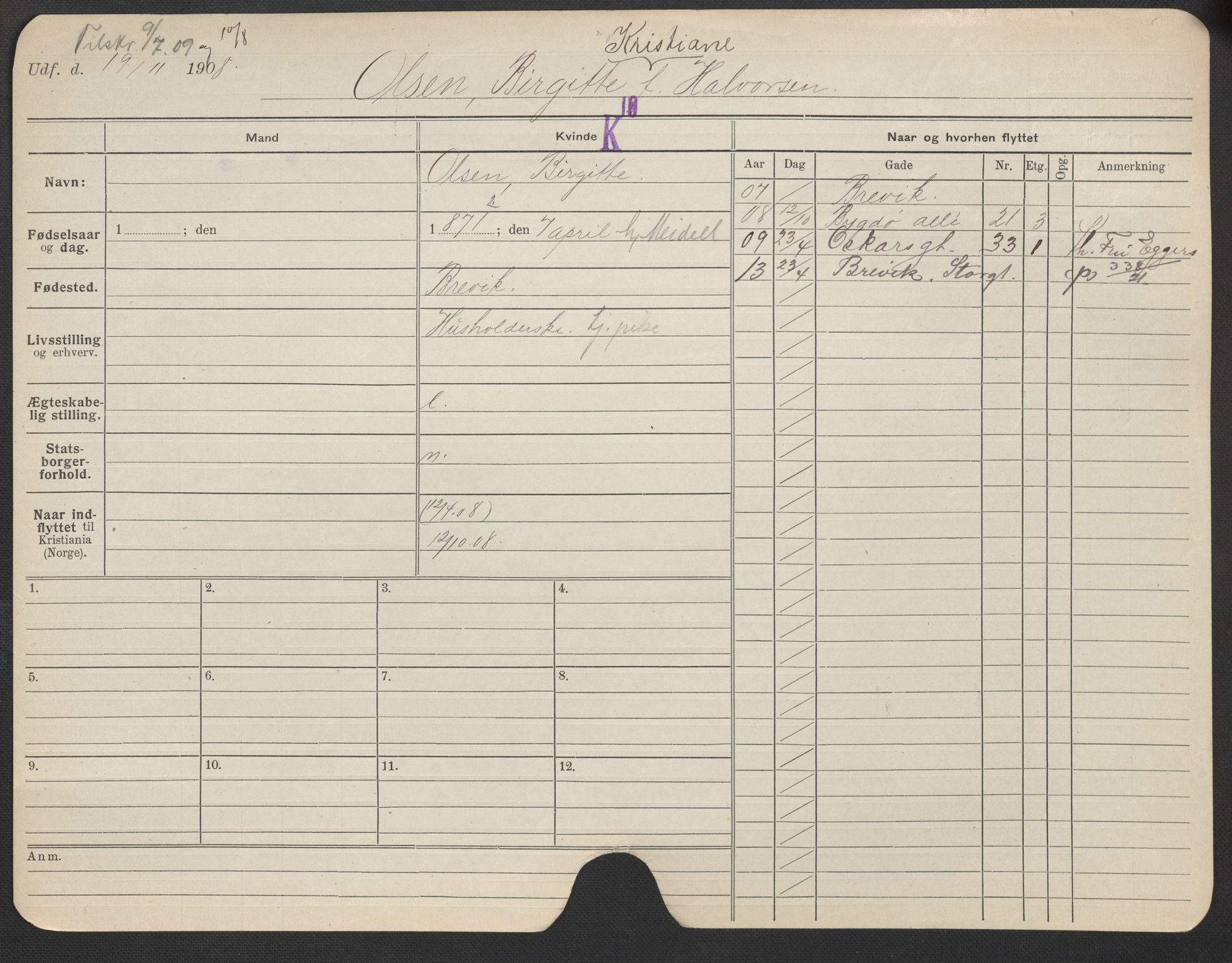 SAO, Oslo folkeregister, Registerkort, F/Fa/Fac/L0021: Kvinner, 1906-1914, s. 976a