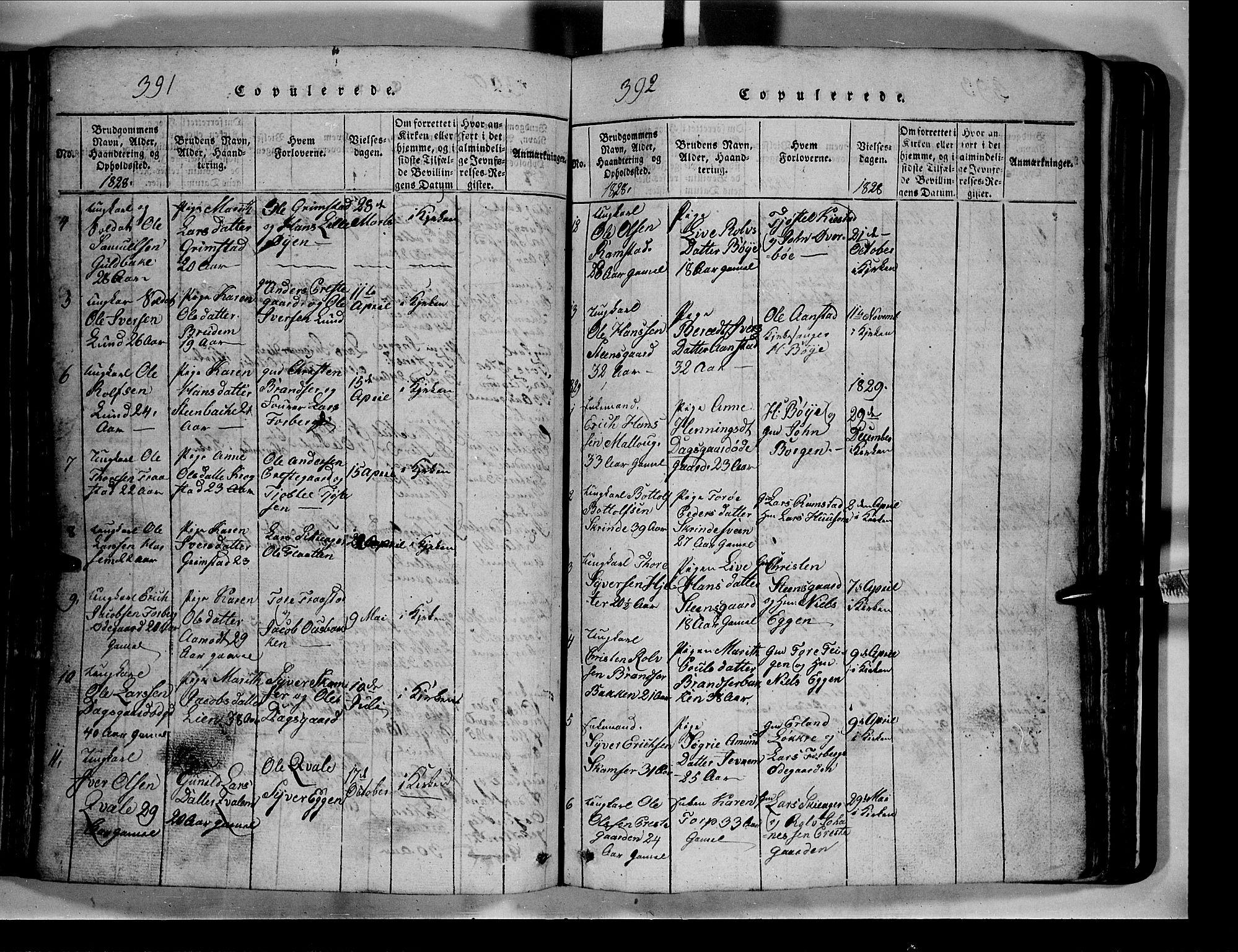SAH, Lom prestekontor, L/L0003: Klokkerbok nr. 3, 1815-1844, s. 391-392