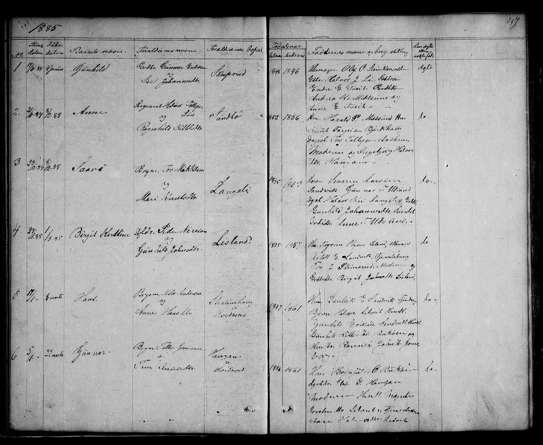 SAKO, Kviteseid kirkebøker, G/Ga/L0001: Klokkerbok nr. I 1, 1850-1893, s. 47