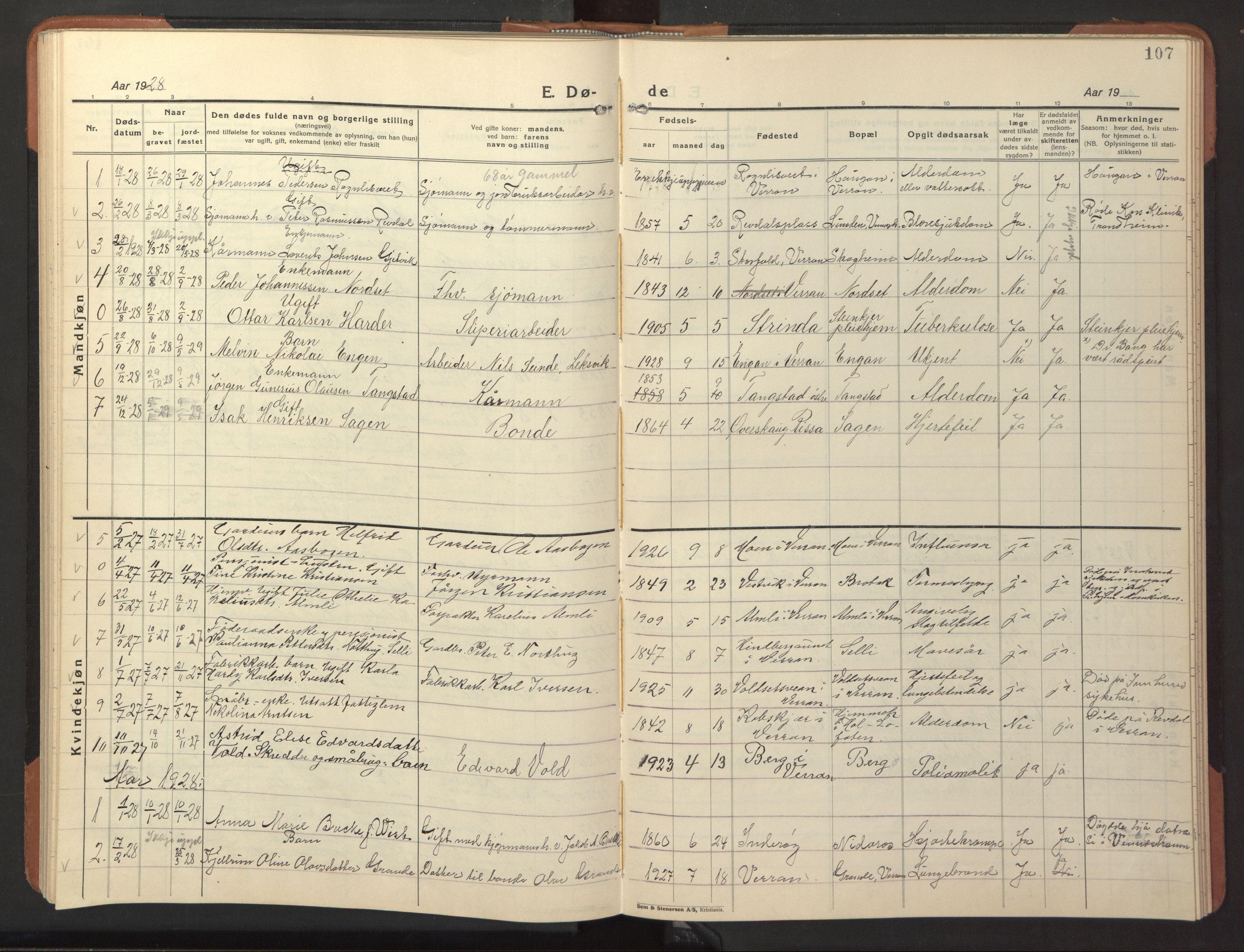 SAT, Ministerialprotokoller, klokkerbøker og fødselsregistre - Nord-Trøndelag, 744/L0425: Klokkerbok nr. 744C04, 1924-1947, s. 107