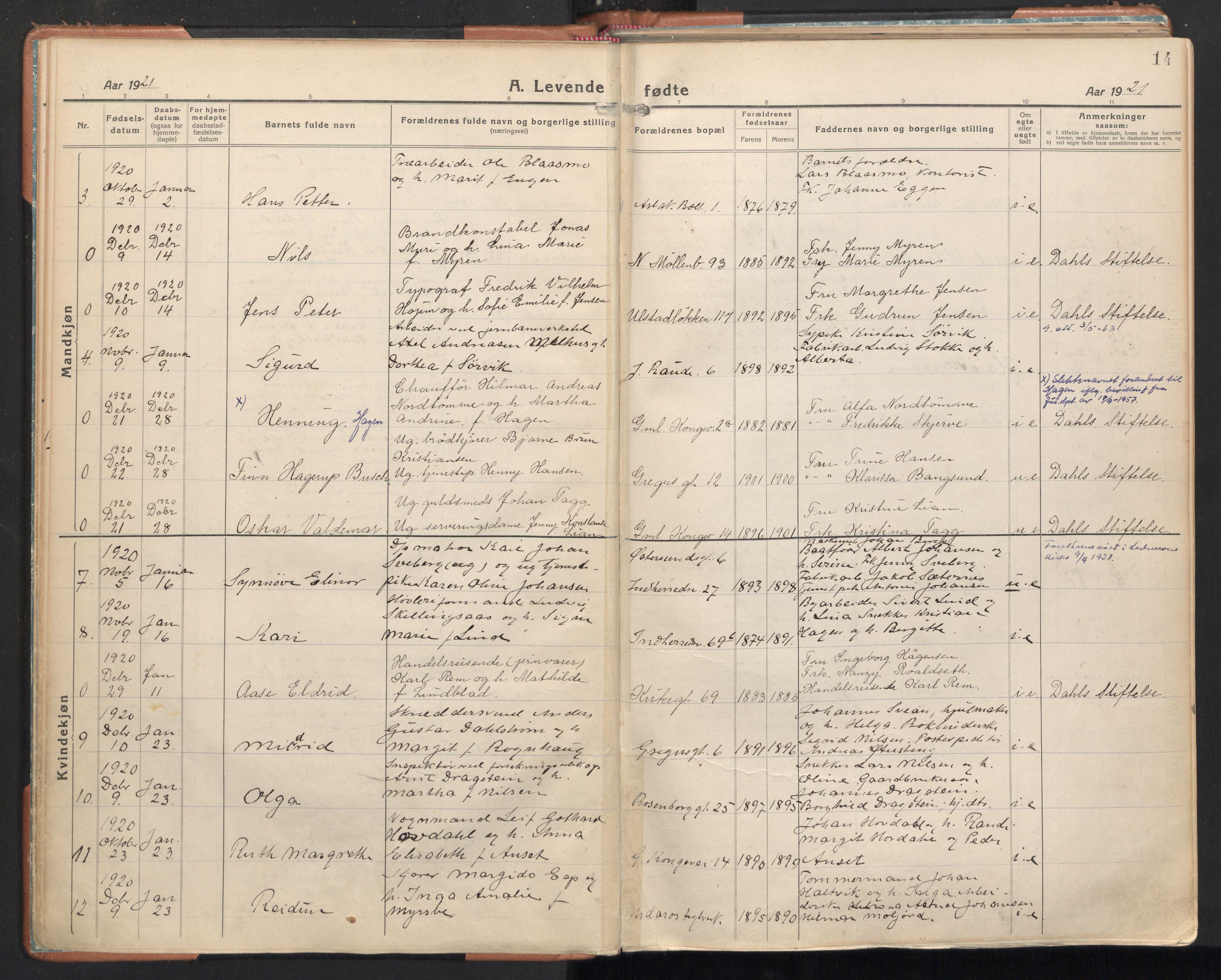 SAT, Ministerialprotokoller, klokkerbøker og fødselsregistre - Sør-Trøndelag, 605/L0248: Ministerialbok nr. 605A10, 1920-1937, s. 14
