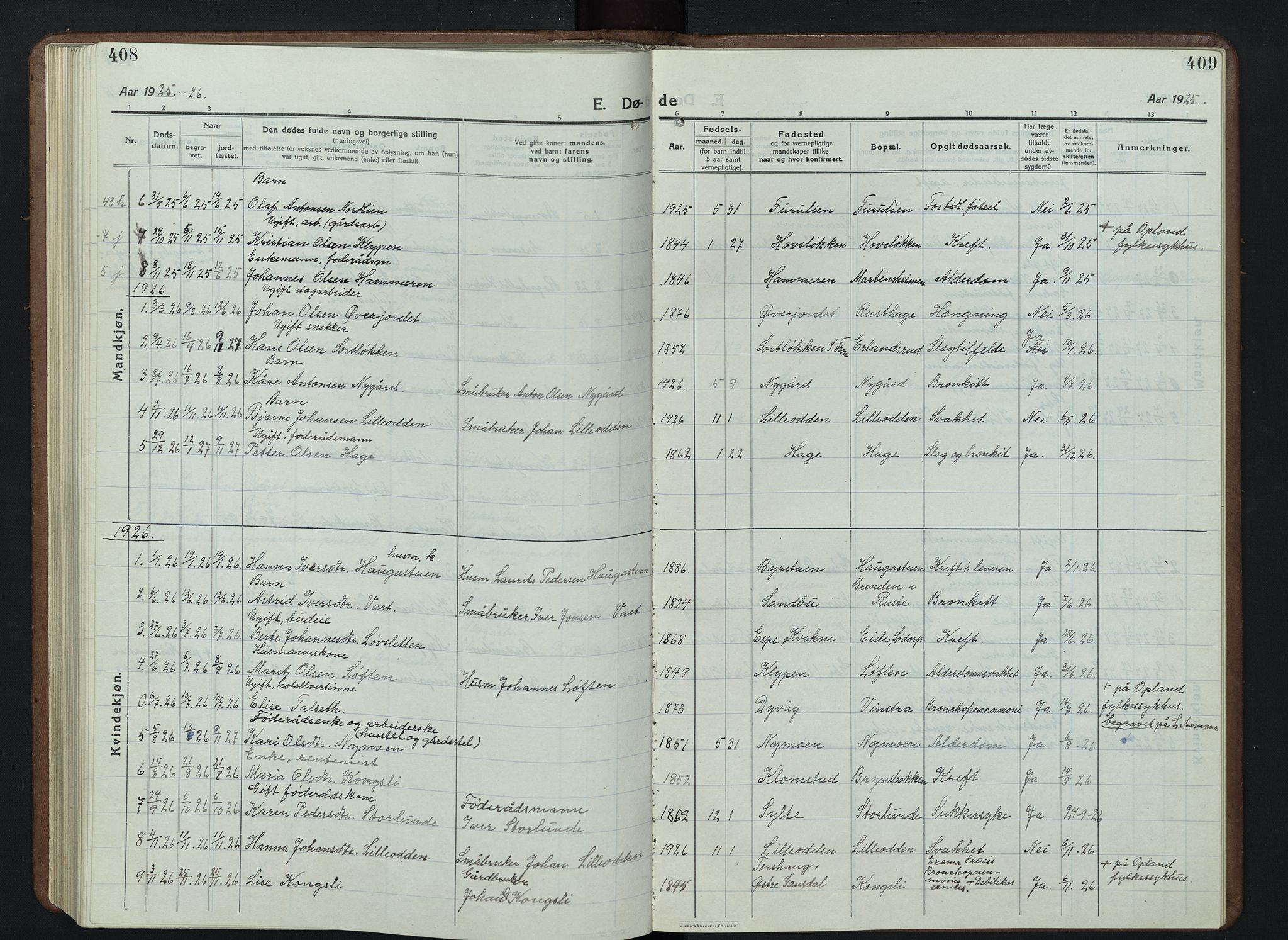 SAH, Nord-Fron prestekontor, Klokkerbok nr. 7, 1915-1946, s. 408-409