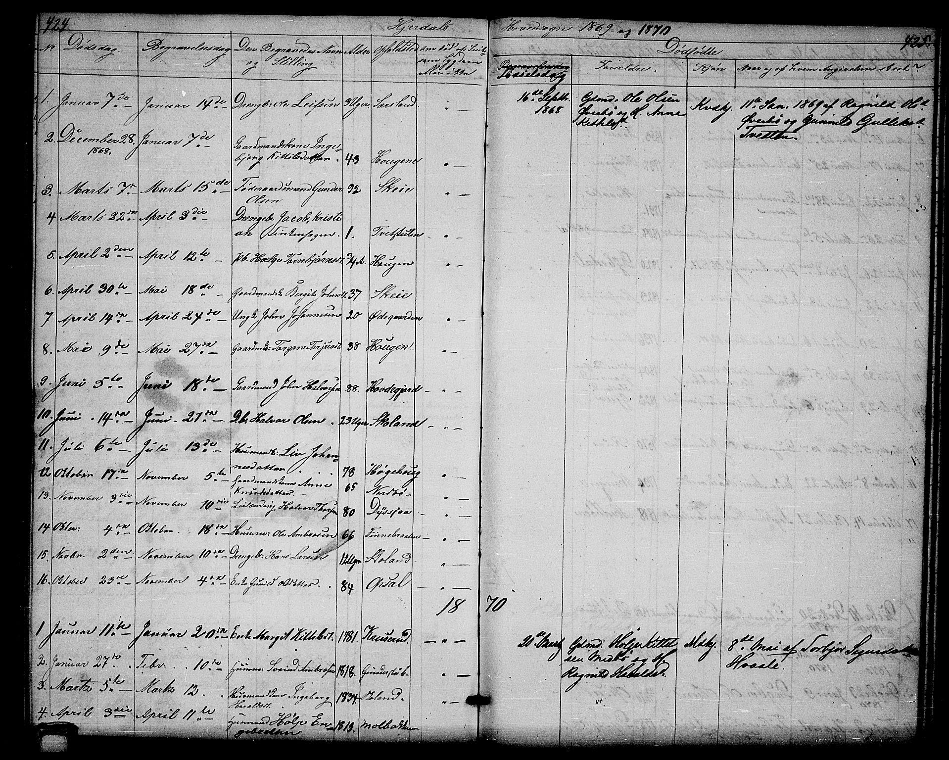 SAKO, Hjartdal kirkebøker, G/Ga/L0002: Klokkerbok nr. I 2, 1854-1888, s. 424-425