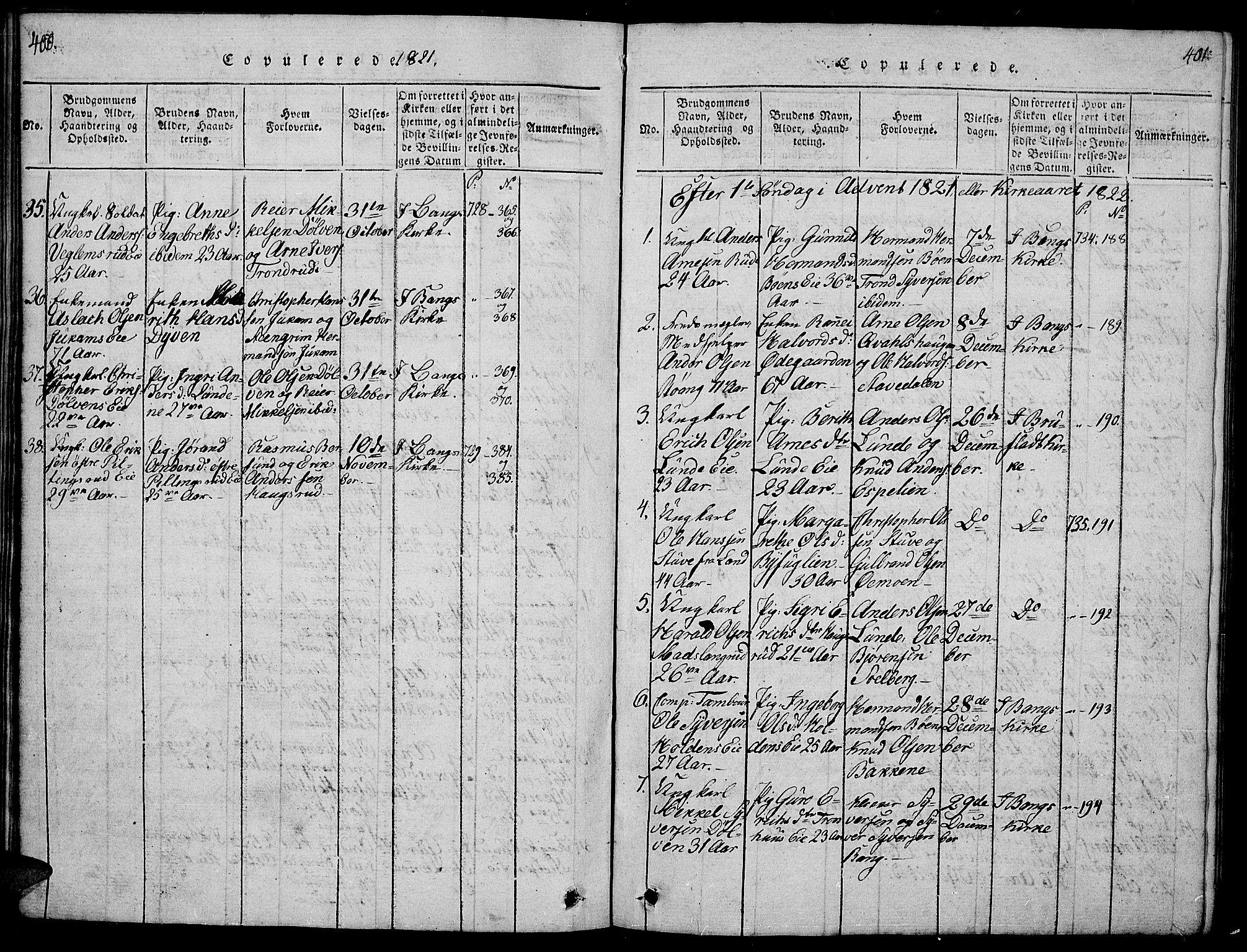 SAH, Sør-Aurdal prestekontor, Klokkerbok nr. 1, 1815-1826, s. 400-401