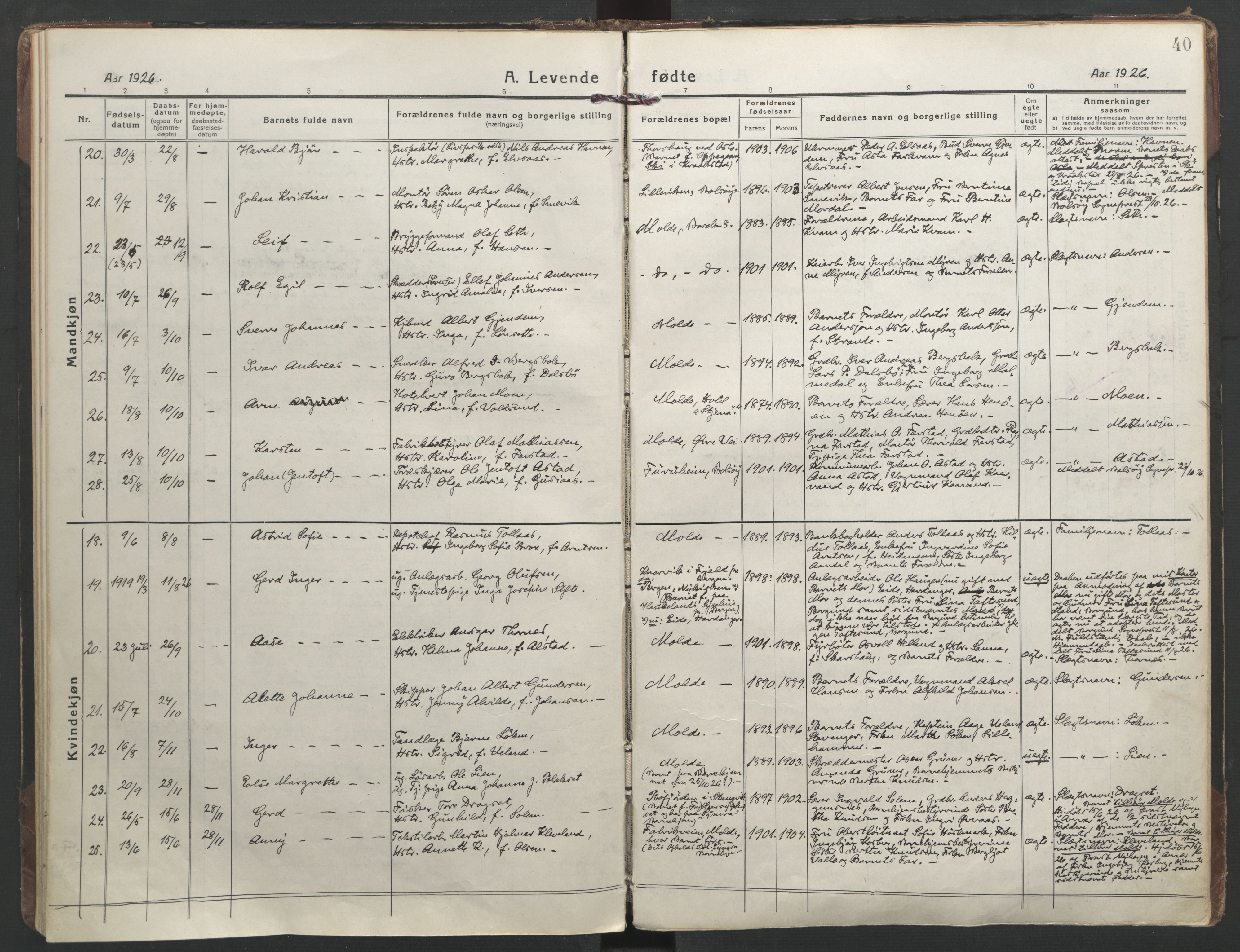 SAT, Ministerialprotokoller, klokkerbøker og fødselsregistre - Møre og Romsdal, 558/L0696: Ministerialbok nr. 558A10, 1917-1929, s. 40