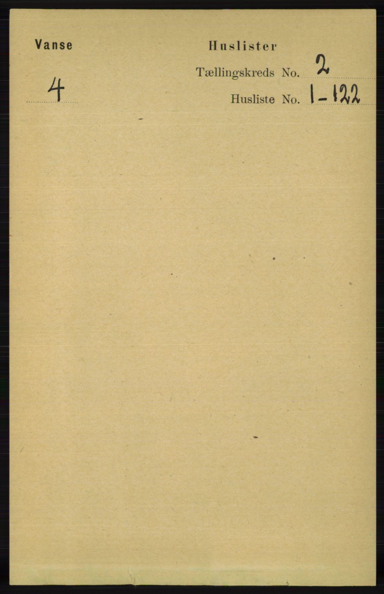 RA, Folketelling 1891 for 1041 Vanse herred, 1891, s. 464