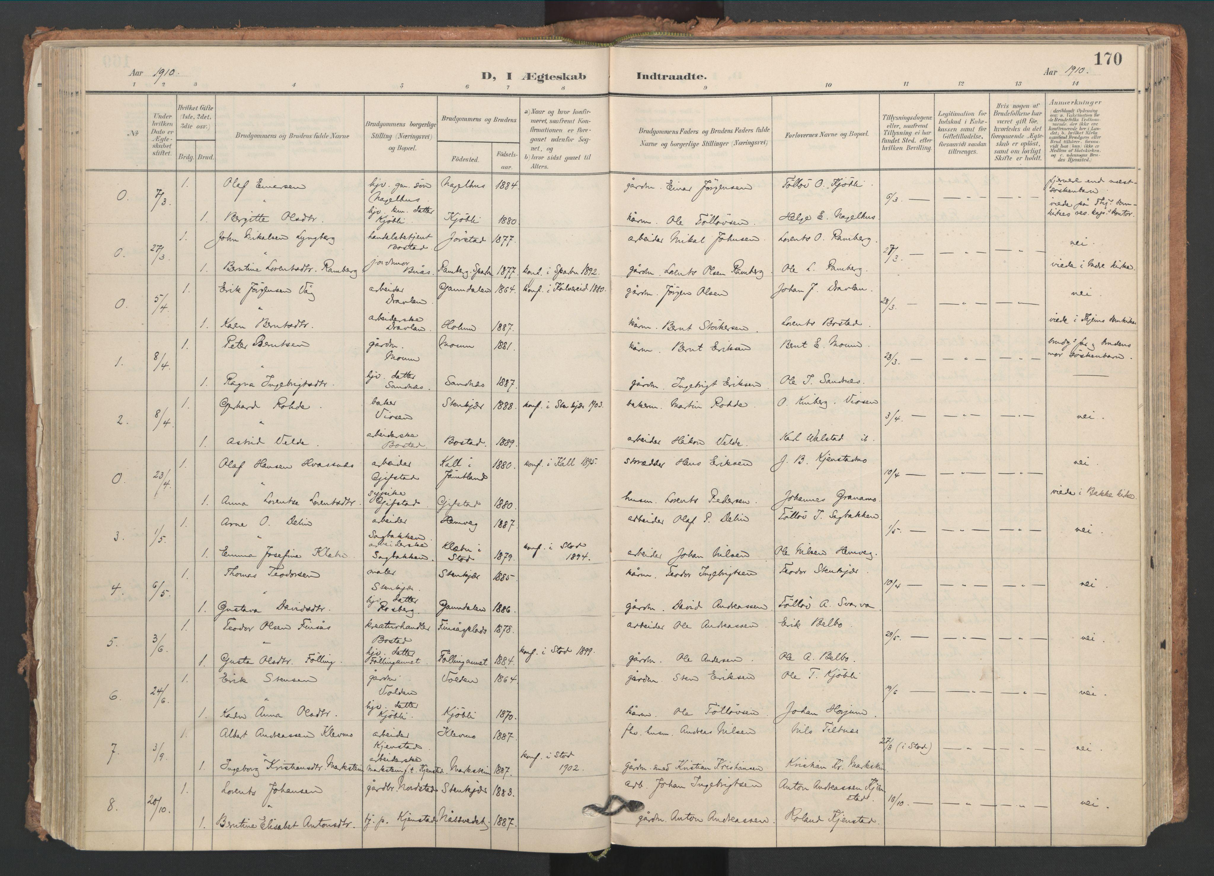 SAT, Ministerialprotokoller, klokkerbøker og fødselsregistre - Nord-Trøndelag, 749/L0477: Ministerialbok nr. 749A11, 1902-1927, s. 170