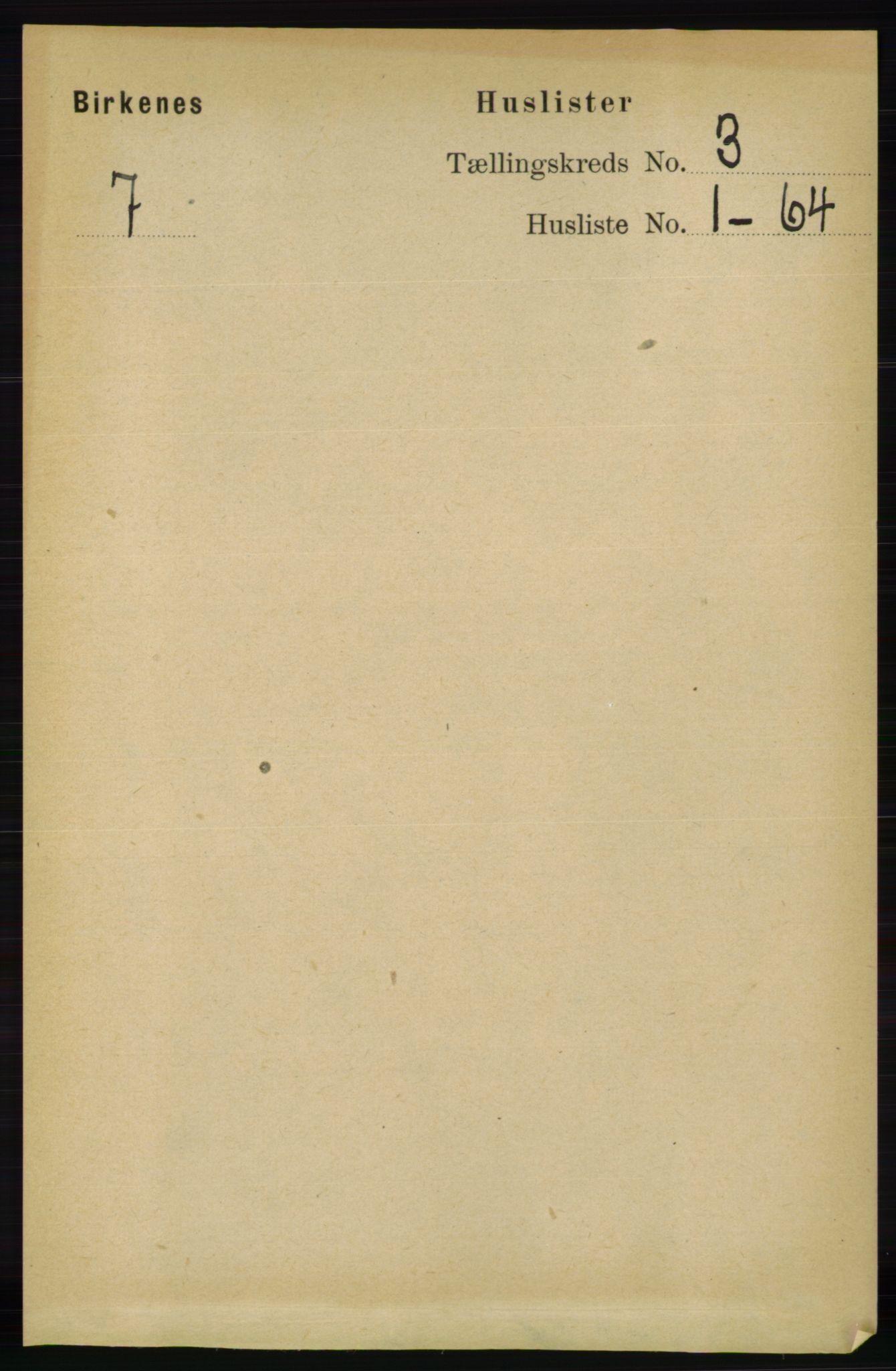 RA, Folketelling 1891 for 0928 Birkenes herred, 1891, s. 780