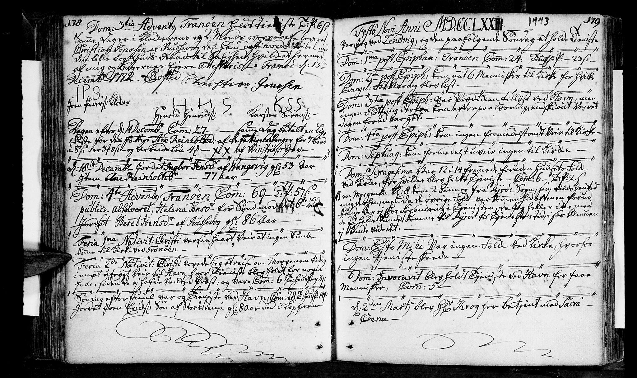 SATØ, Tranøy sokneprestkontor, I/Ia/Iaa/L0001kirke: Ministerialbok nr. 1, 1757-1773, s. 178-179
