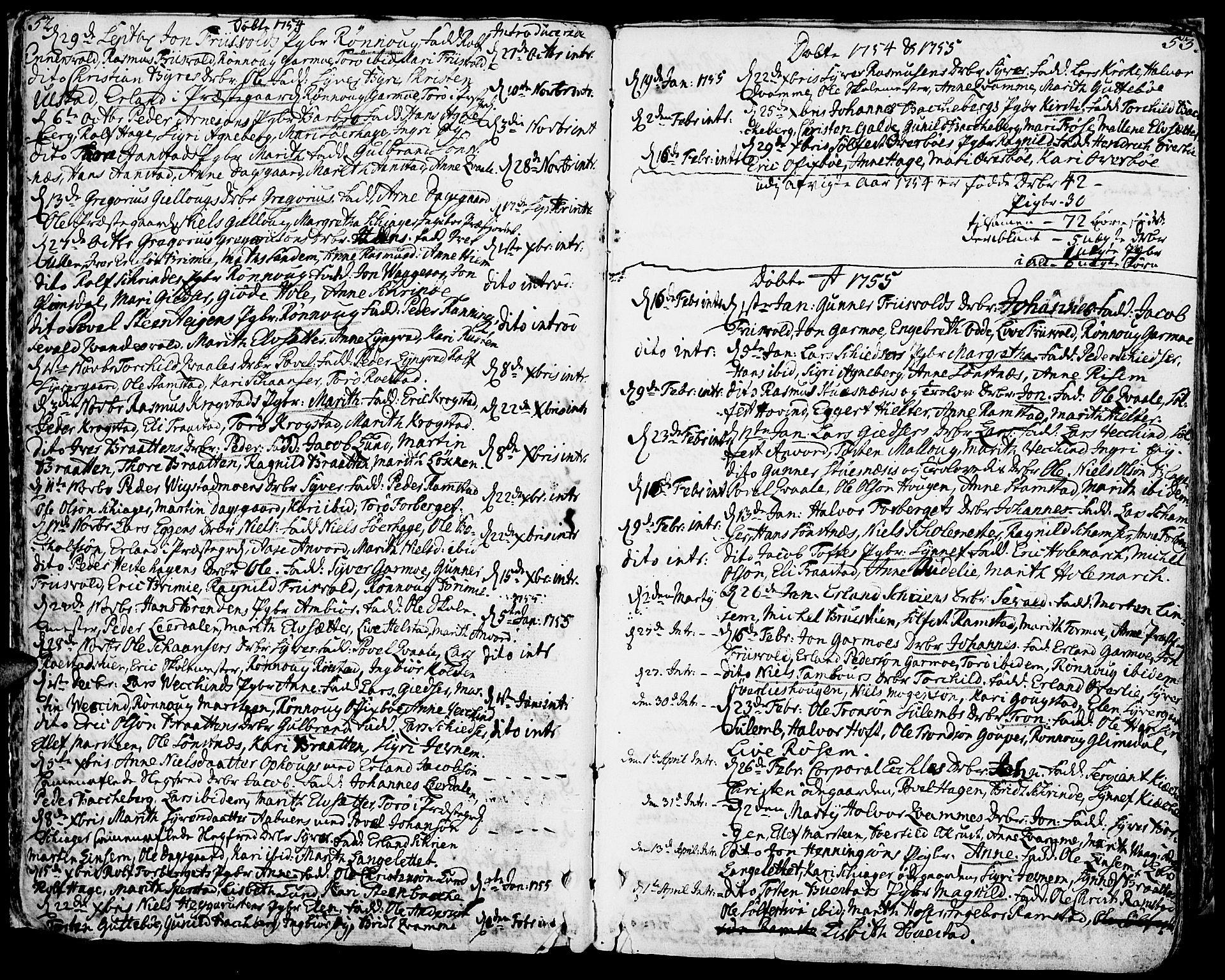SAH, Lom prestekontor, K/L0002: Ministerialbok nr. 2, 1749-1801, s. 52-53