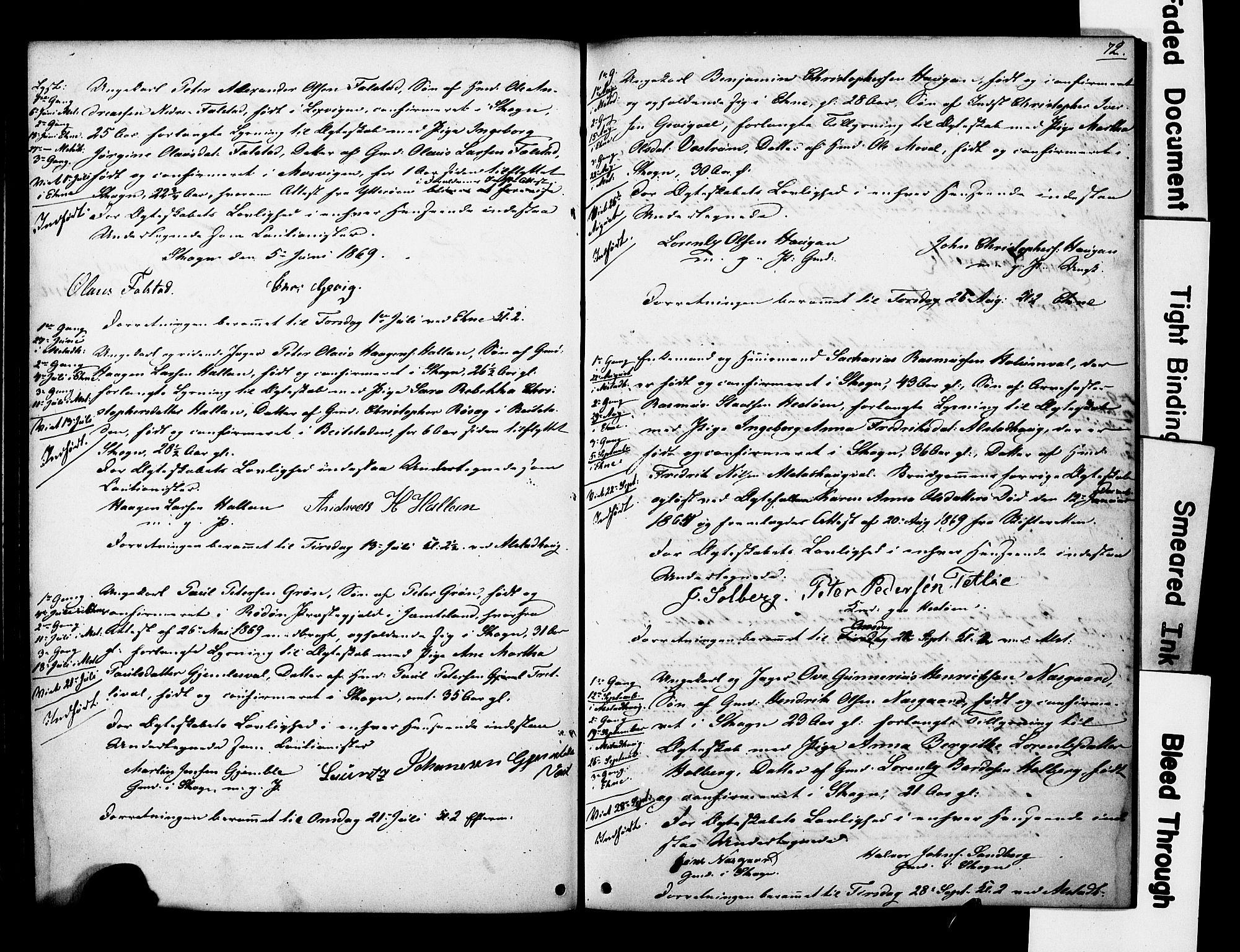 SAT, Ministerialprotokoller, klokkerbøker og fødselsregistre - Nord-Trøndelag, 717/L0161: Forlovererklæringer nr. 717A11, 1850-1895, s. 72