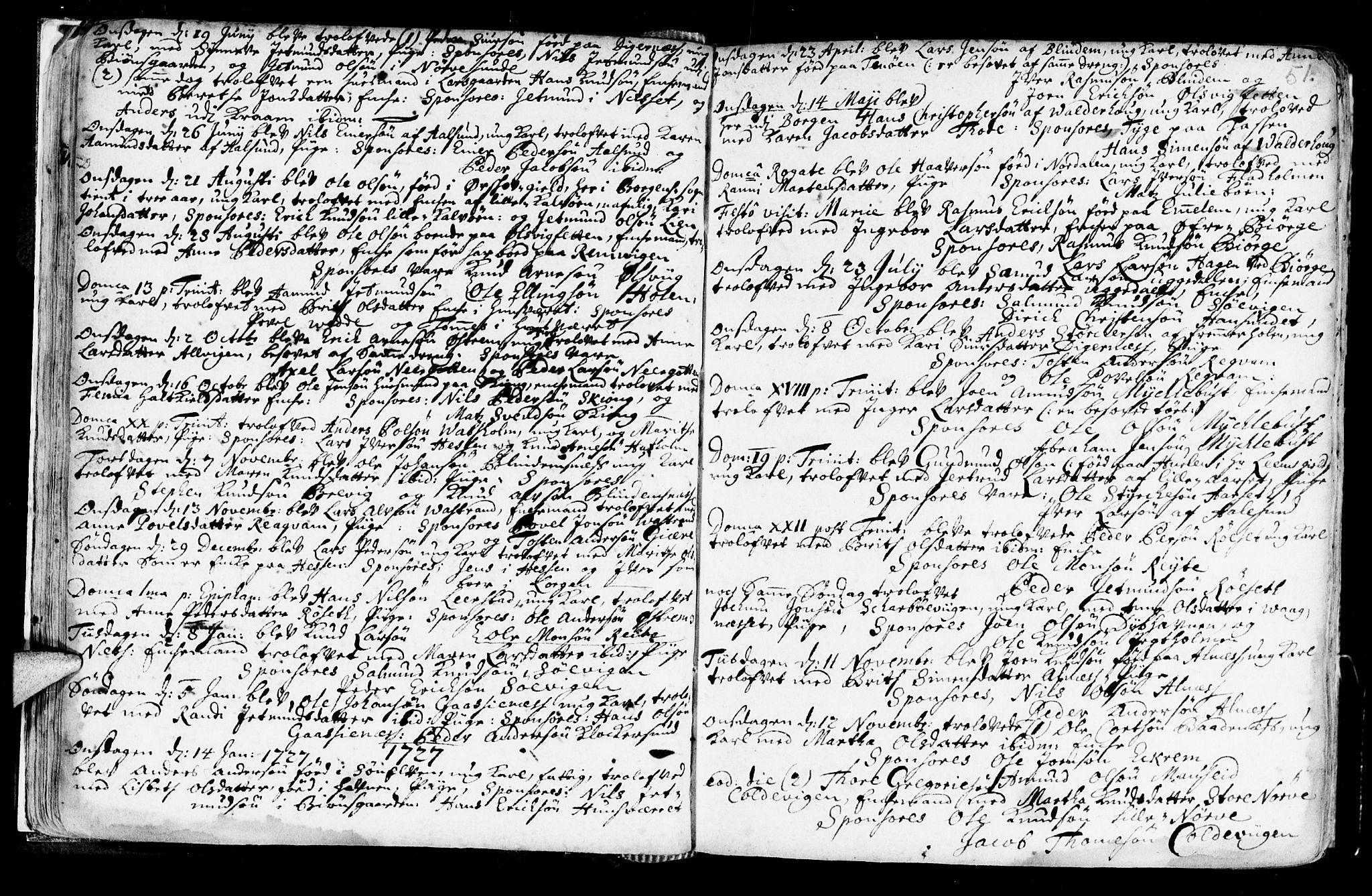 SAT, Ministerialprotokoller, klokkerbøker og fødselsregistre - Møre og Romsdal, 528/L0390: Ministerialbok nr. 528A01, 1698-1739, s. 50-51