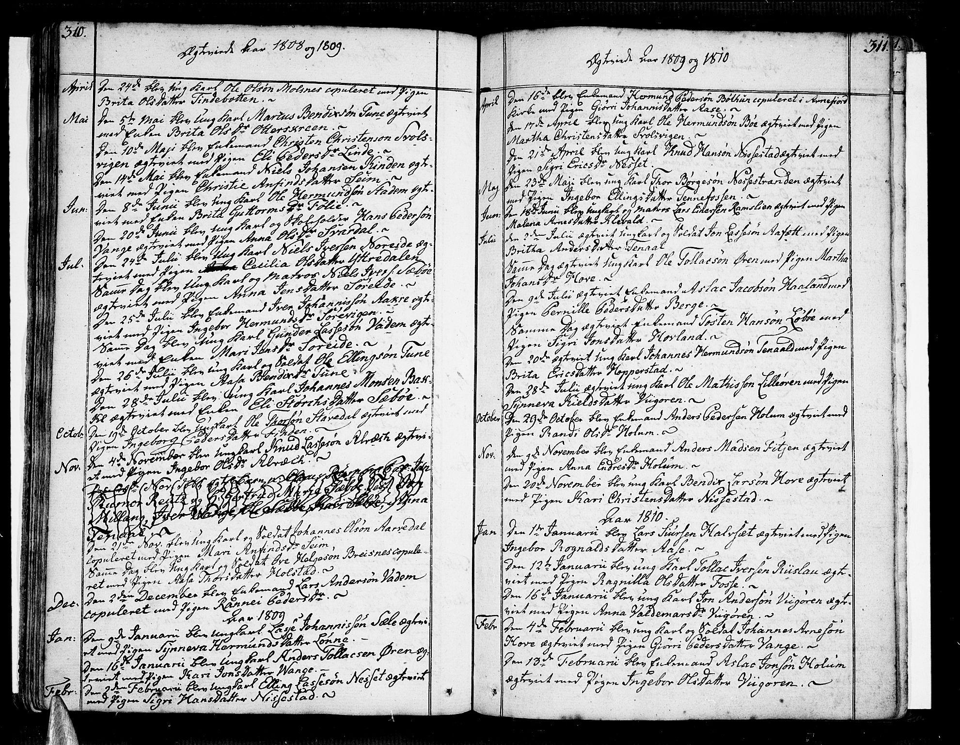 SAB, Vik Sokneprestembete, Ministerialbok nr. A 5, 1787-1820, s. 310-311