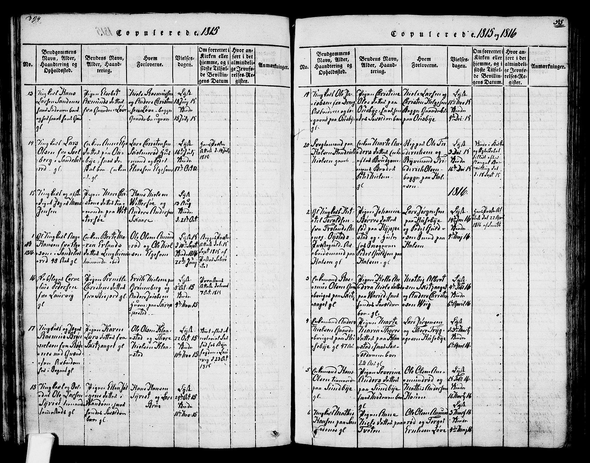 SAKO, Tjølling kirkebøker, F/Fa/L0005: Ministerialbok nr. 5, 1814-1836, s. 394-395