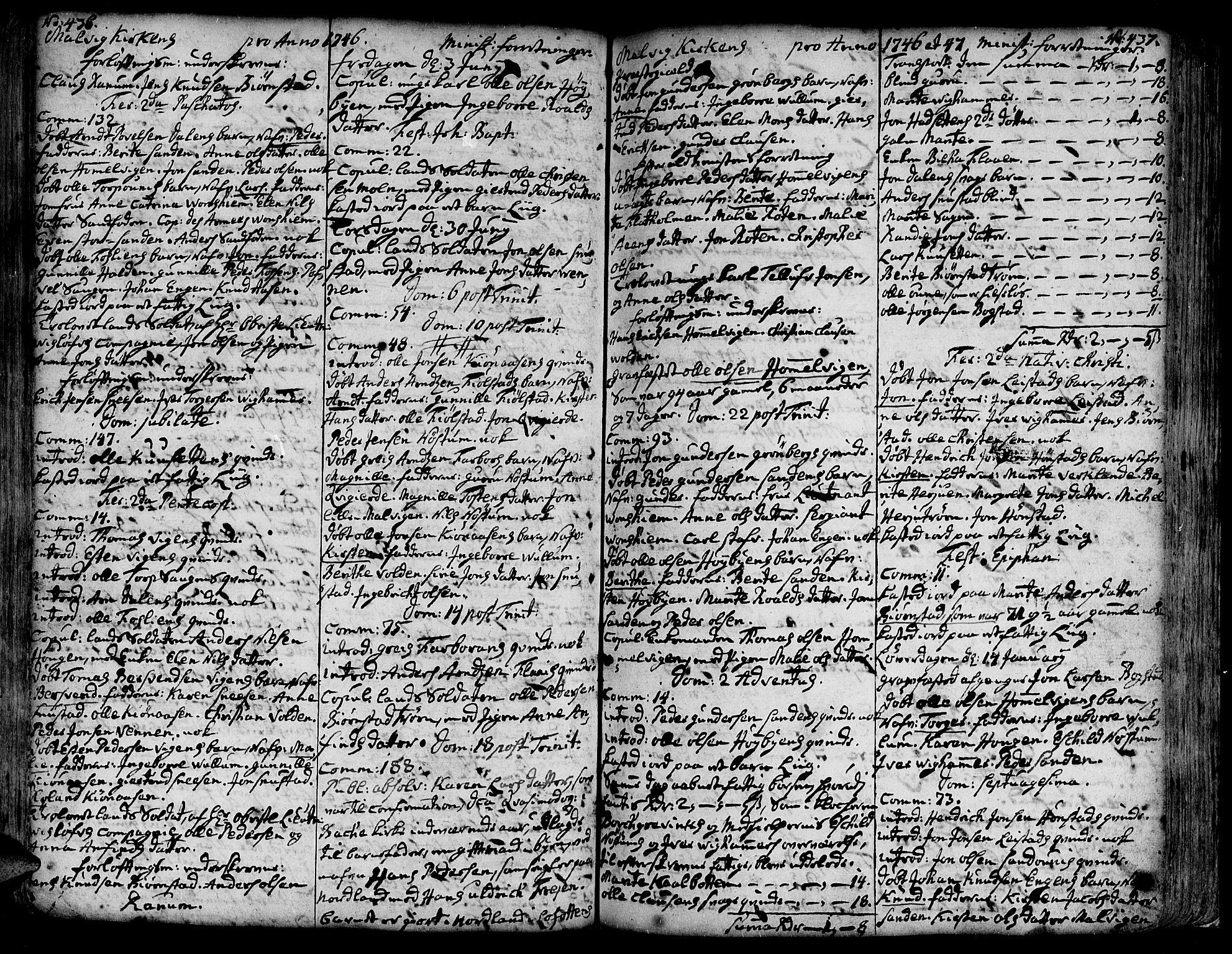 SAT, Ministerialprotokoller, klokkerbøker og fødselsregistre - Sør-Trøndelag, 606/L0277: Ministerialbok nr. 606A01 /3, 1727-1780, s. 436-437