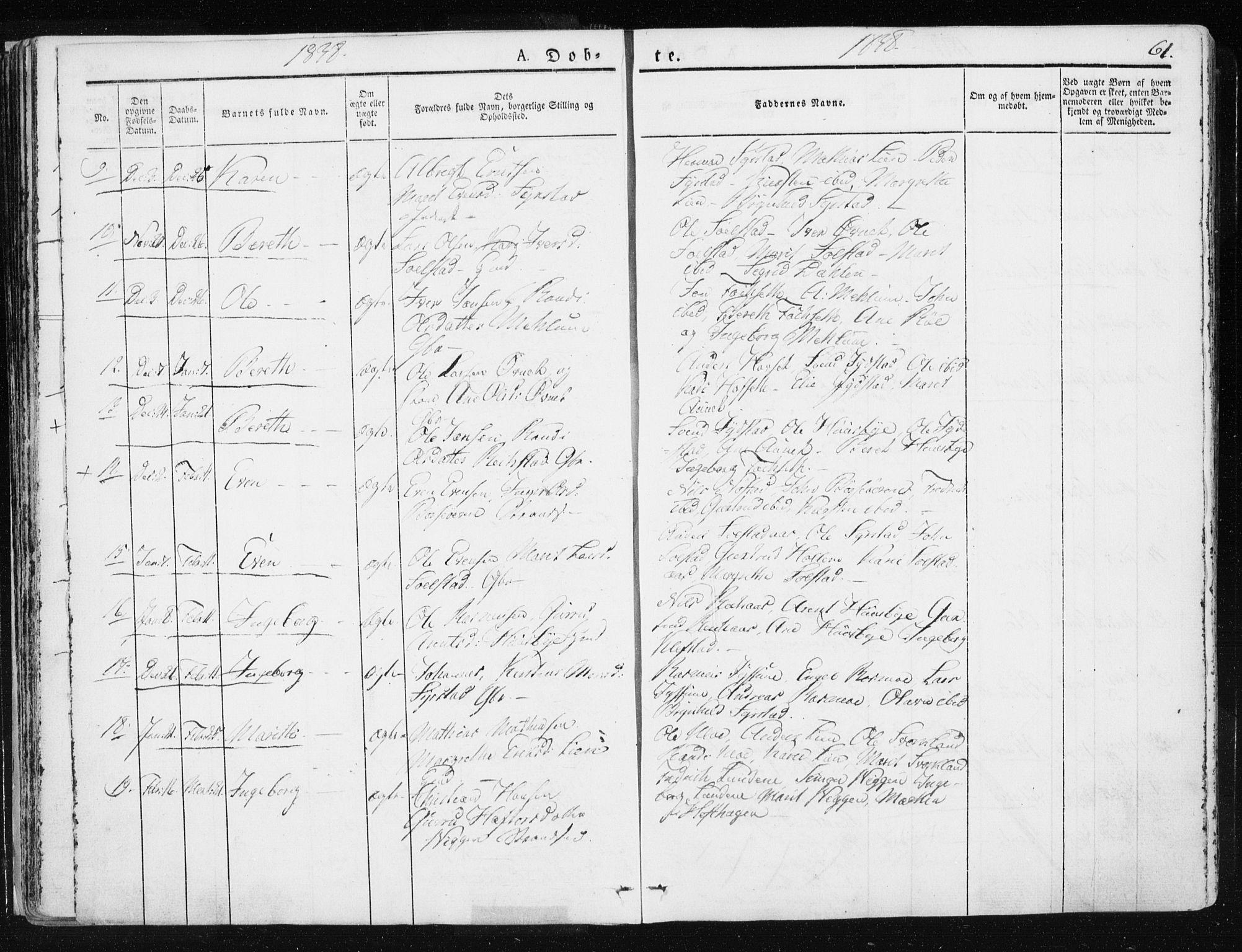 SAT, Ministerialprotokoller, klokkerbøker og fødselsregistre - Sør-Trøndelag, 665/L0771: Ministerialbok nr. 665A06, 1830-1856, s. 61