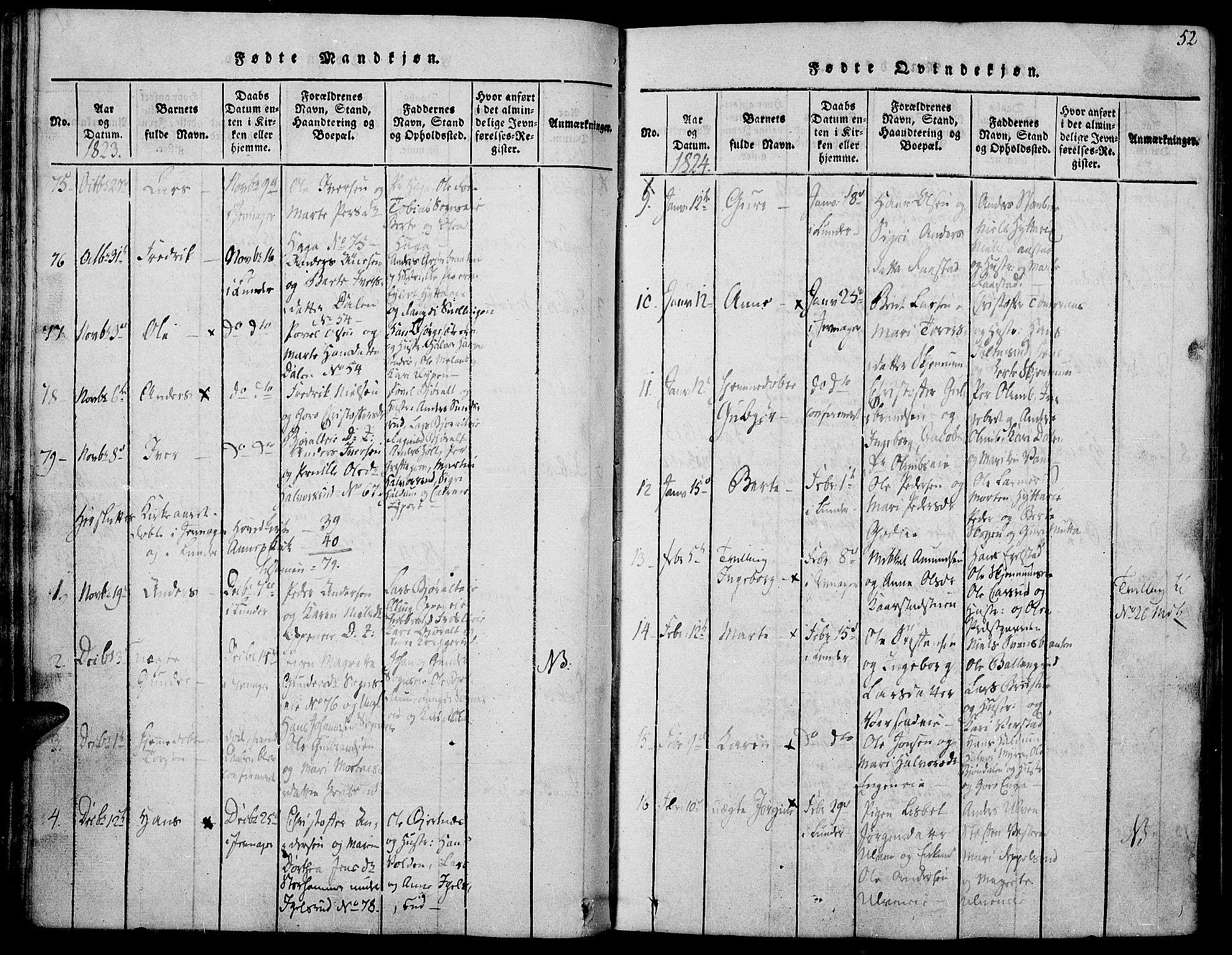 SAH, Jevnaker prestekontor, Ministerialbok nr. 5, 1815-1837, s. 52
