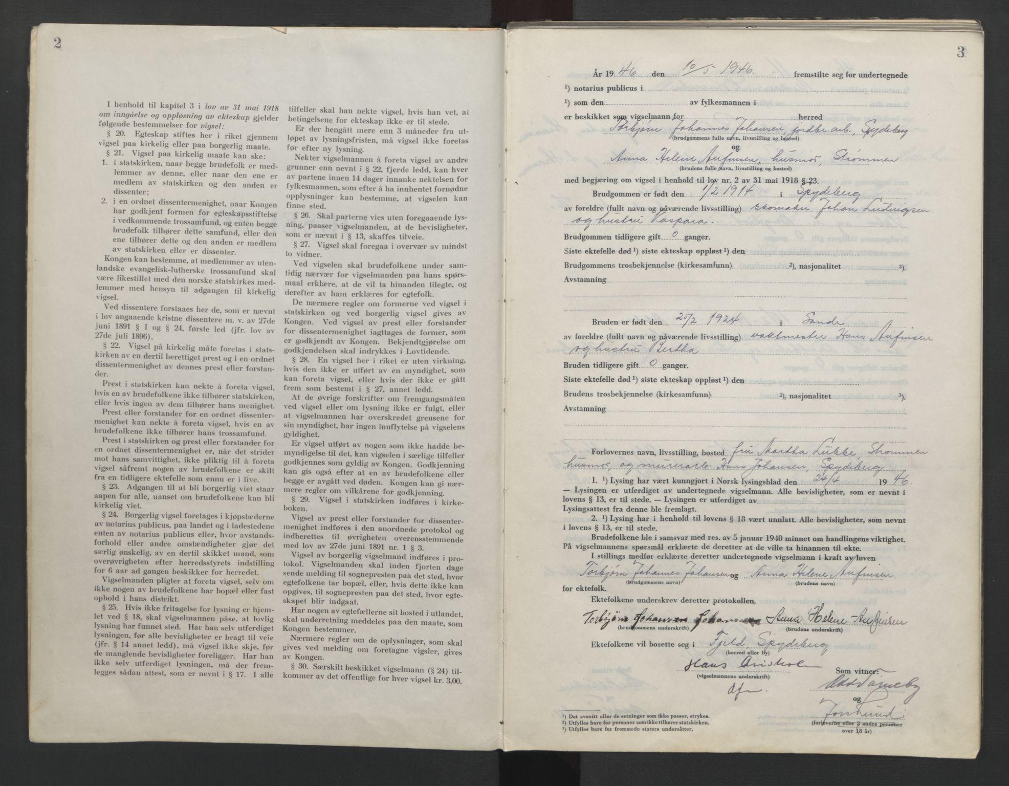SAO, Nedre Romerike sorenskriveri, L/Lb/L0007: Vigselsbok - borgerlige vielser, 1946-1950, s. 2-3