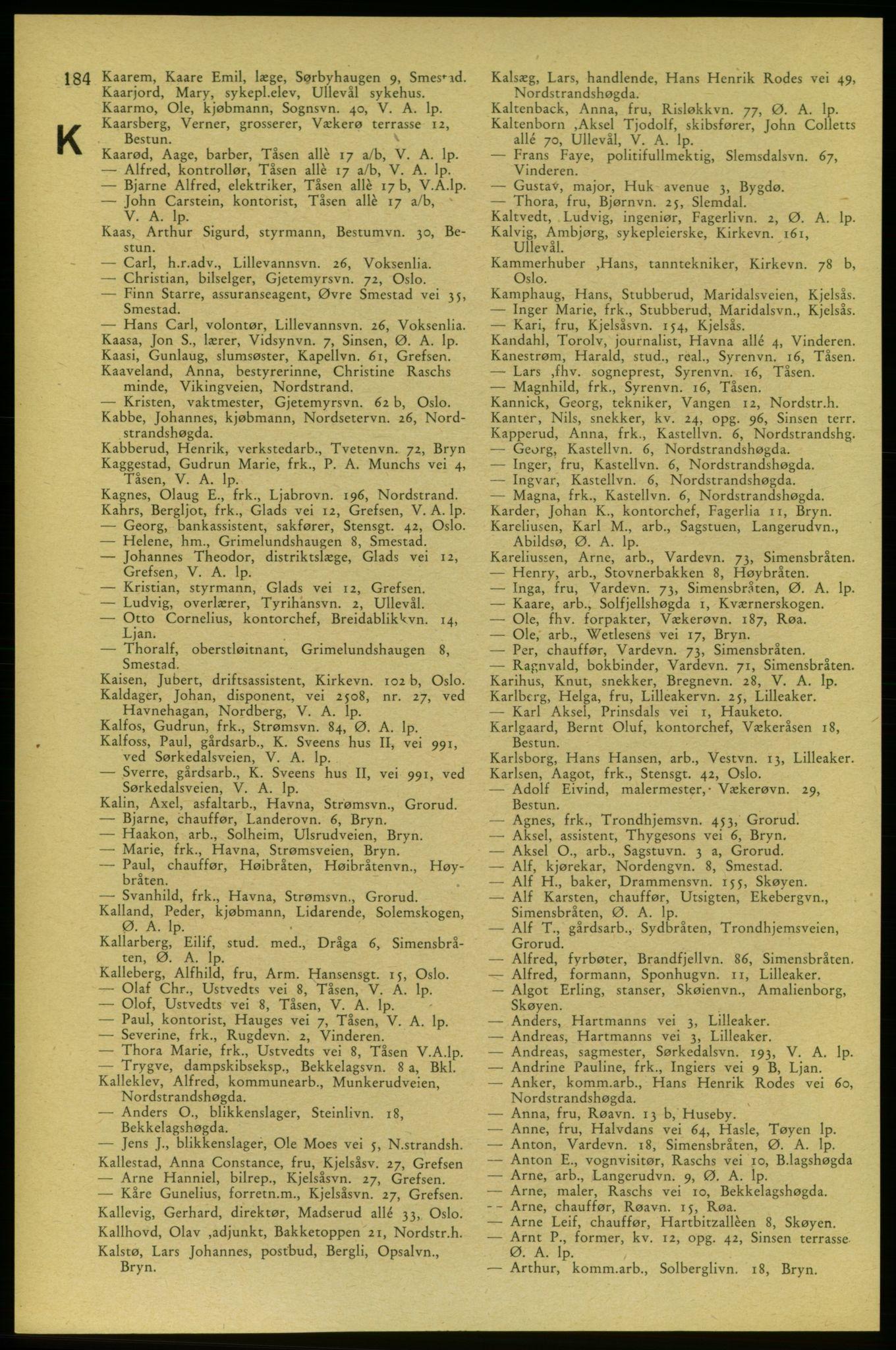 PUBL, Aker adressebok/adressekalender, 1937-1938, s. 184
