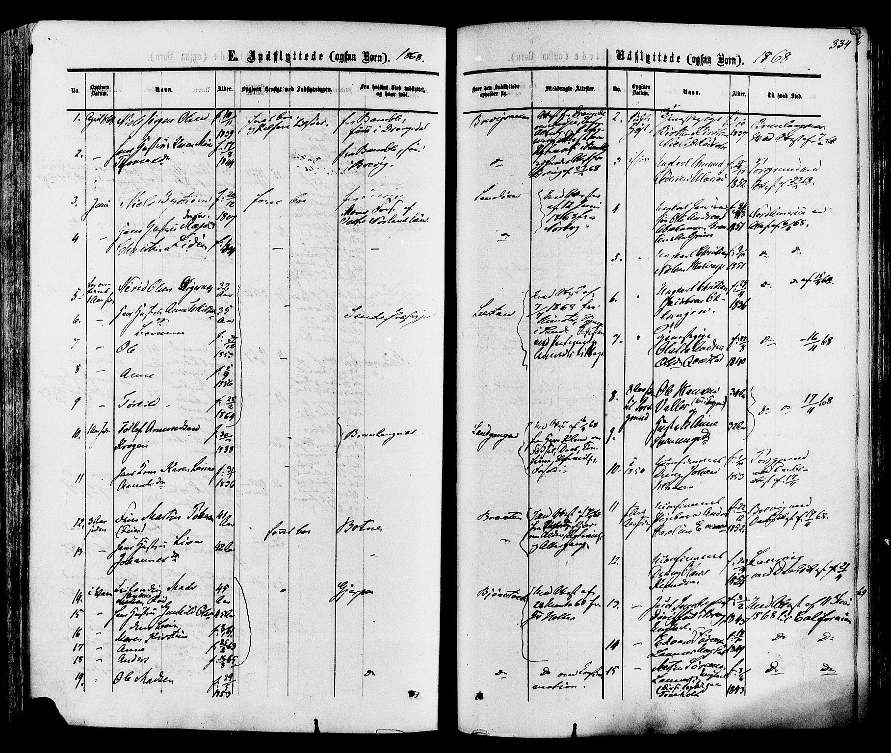 SAKO, Eidanger kirkebøker, F/Fa/L0010: Ministerialbok nr. 10, 1859-1874, s. 334