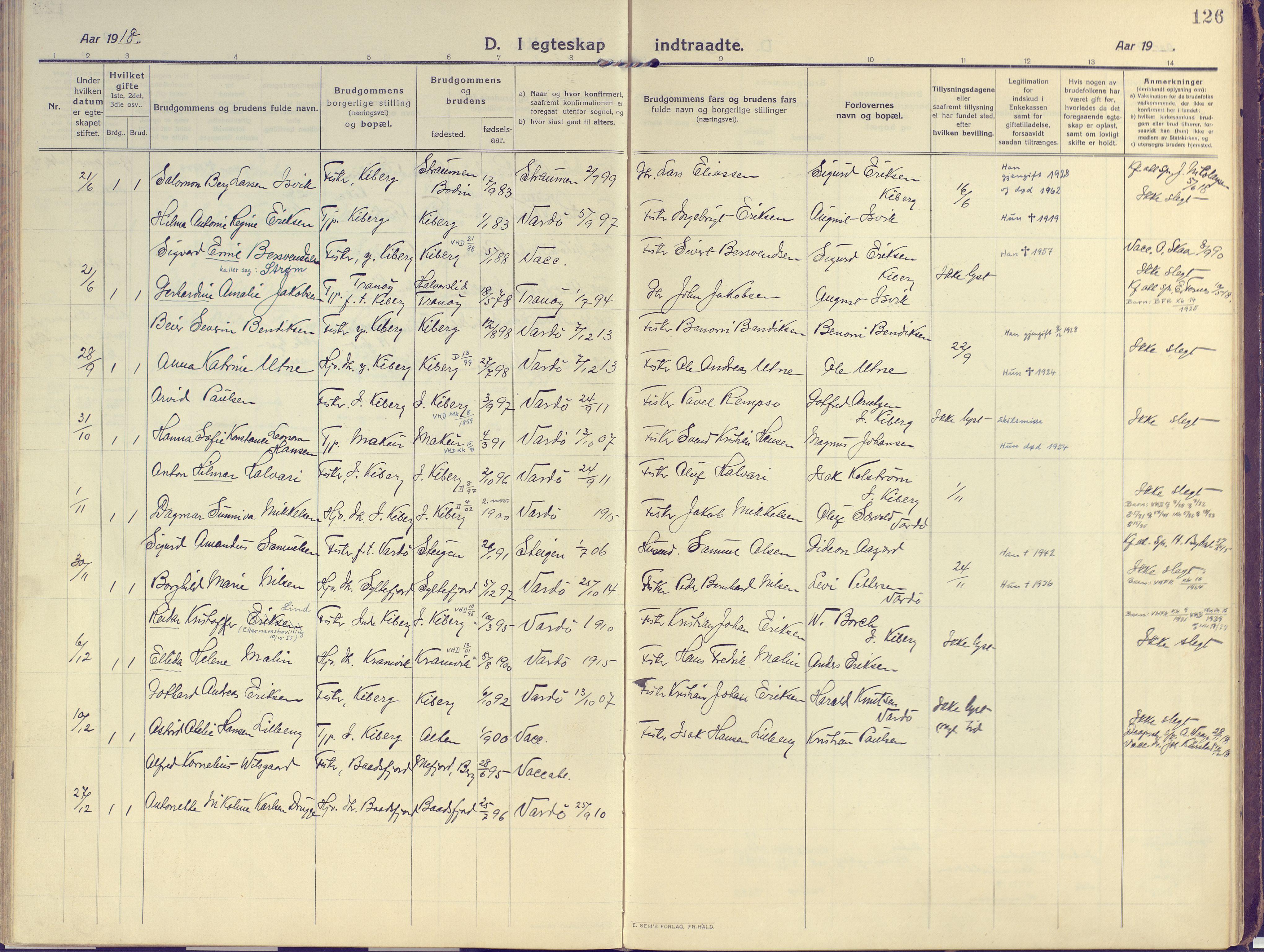 SATØ, Vardø sokneprestkontor, H/Ha/L0013kirke: Ministerialbok nr. 13, 1912-1928, s. 126