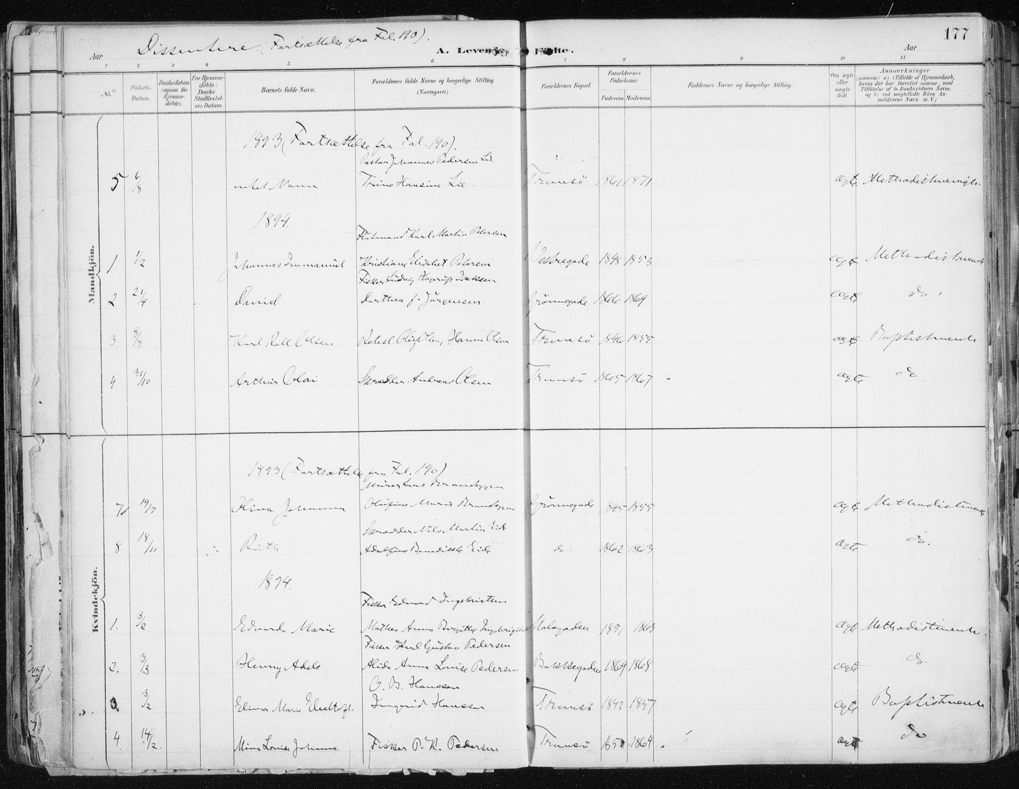 SATØ, Tromsø sokneprestkontor/stiftsprosti/domprosti, G/Ga/L0015kirke: Ministerialbok nr. 15, 1889-1899, s. 177