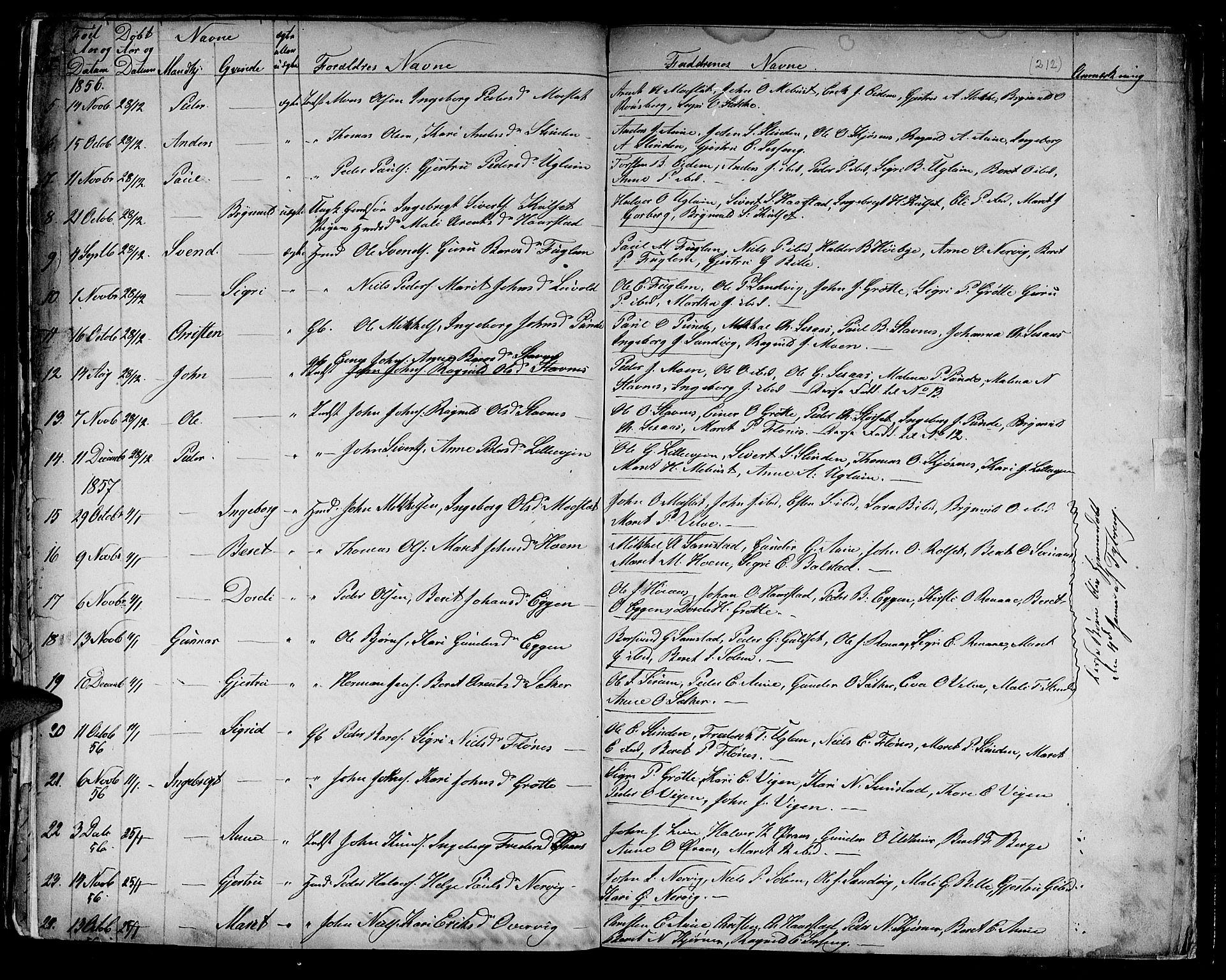 SAT, Ministerialprotokoller, klokkerbøker og fødselsregistre - Sør-Trøndelag, 695/L1154: Klokkerbok nr. 695C05, 1842-1858, s. 212