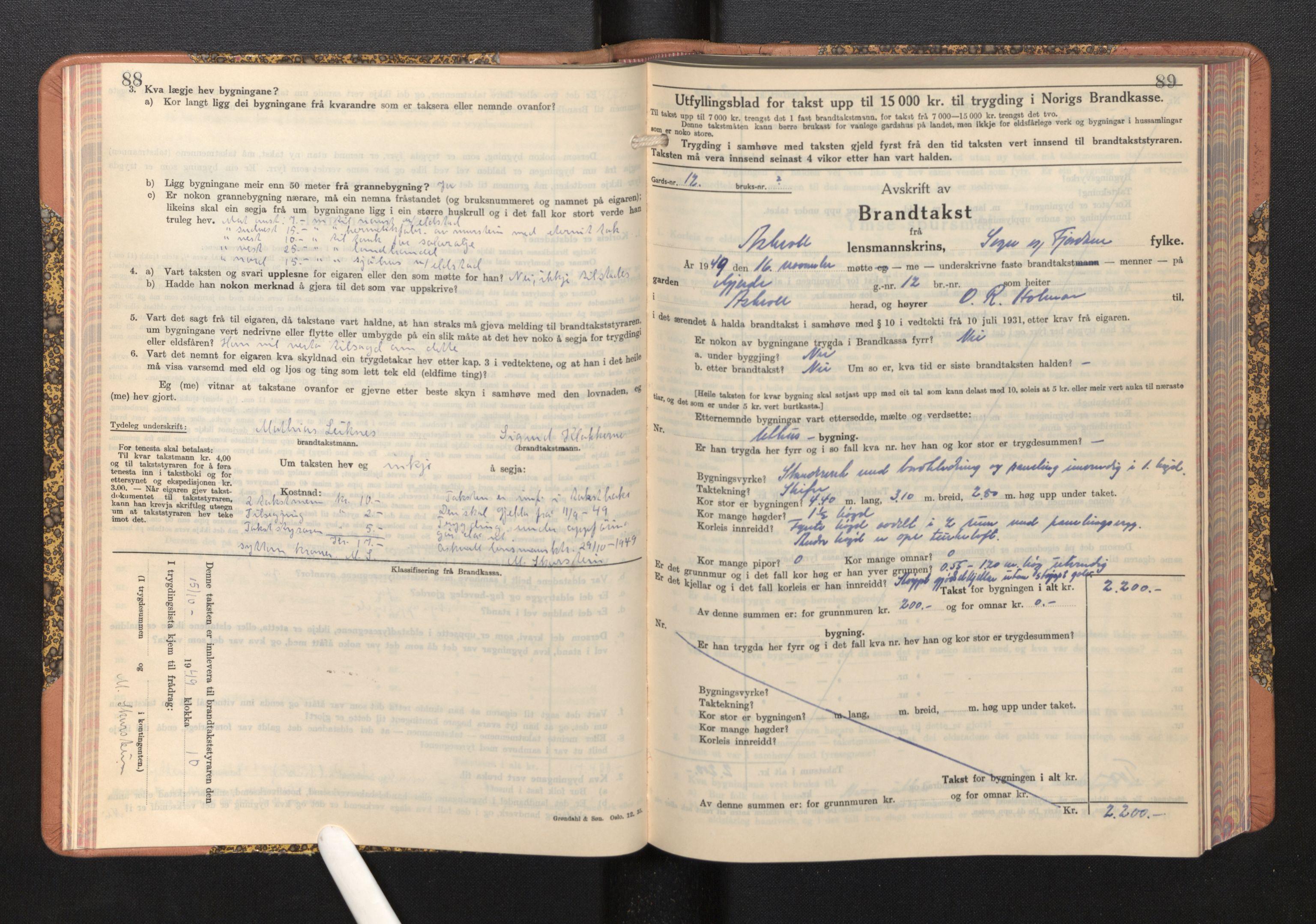 SAB, Lensmannen i Askvoll, 0012/L0005: Branntakstprotokoll, skjematakst, 1940-1949, s. 88-89