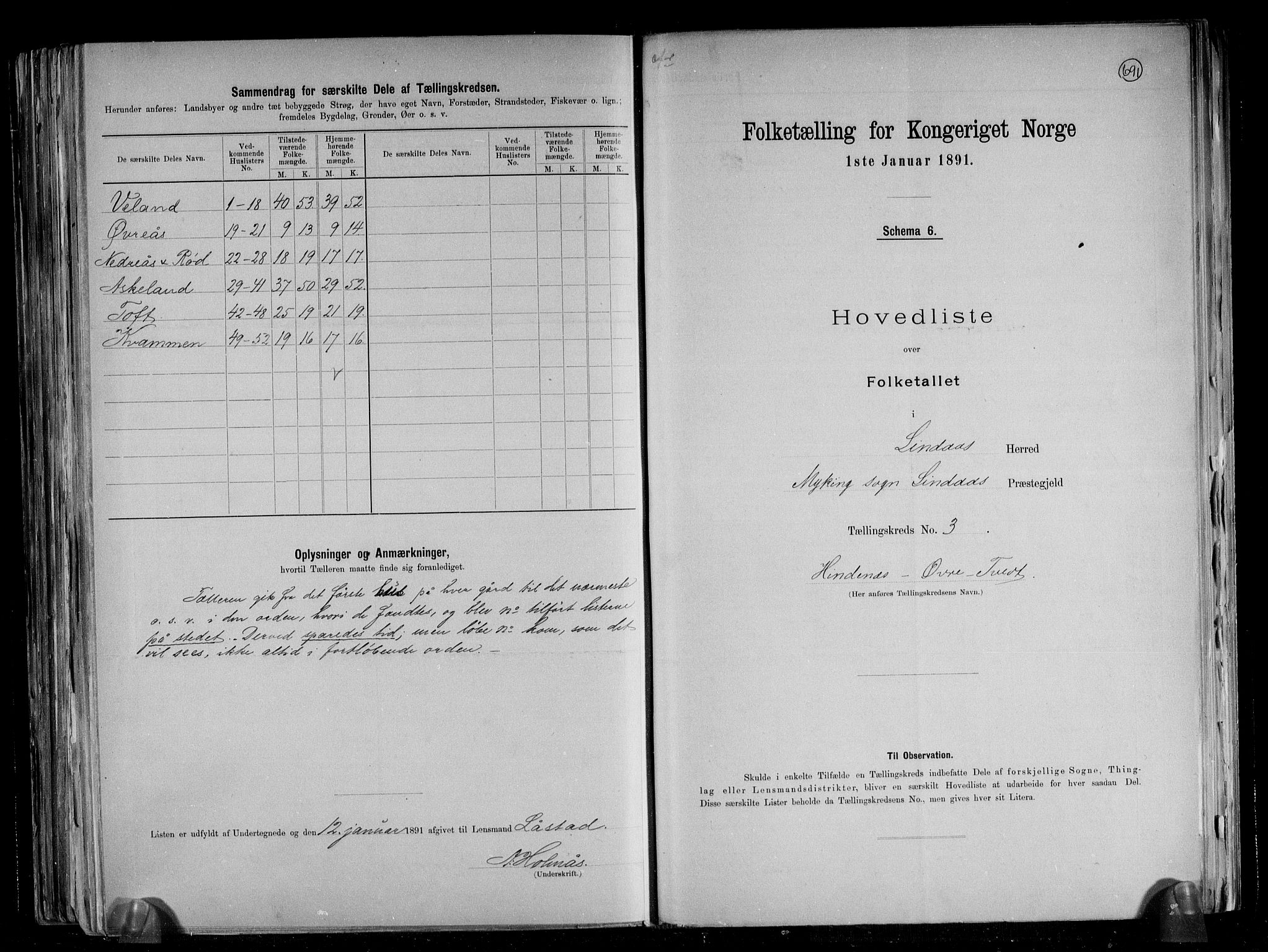 RA, Folketelling 1891 for 1263 Lindås herred, 1891, s. 9