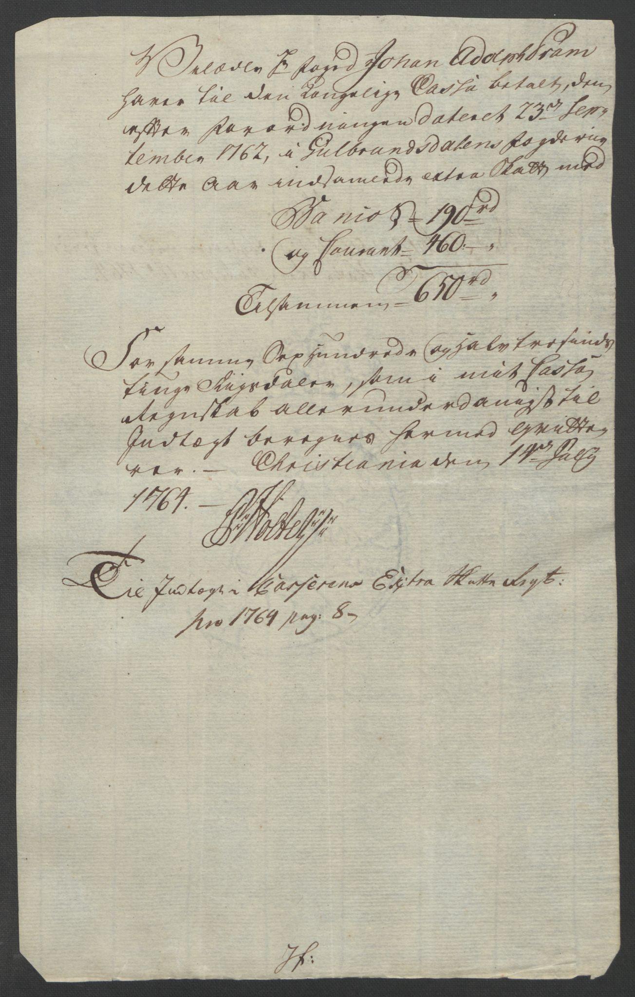 RA, Rentekammeret inntil 1814, Reviderte regnskaper, Fogderegnskap, R17/L1266: Ekstraskatten Gudbrandsdal, 1762-1766, s. 439
