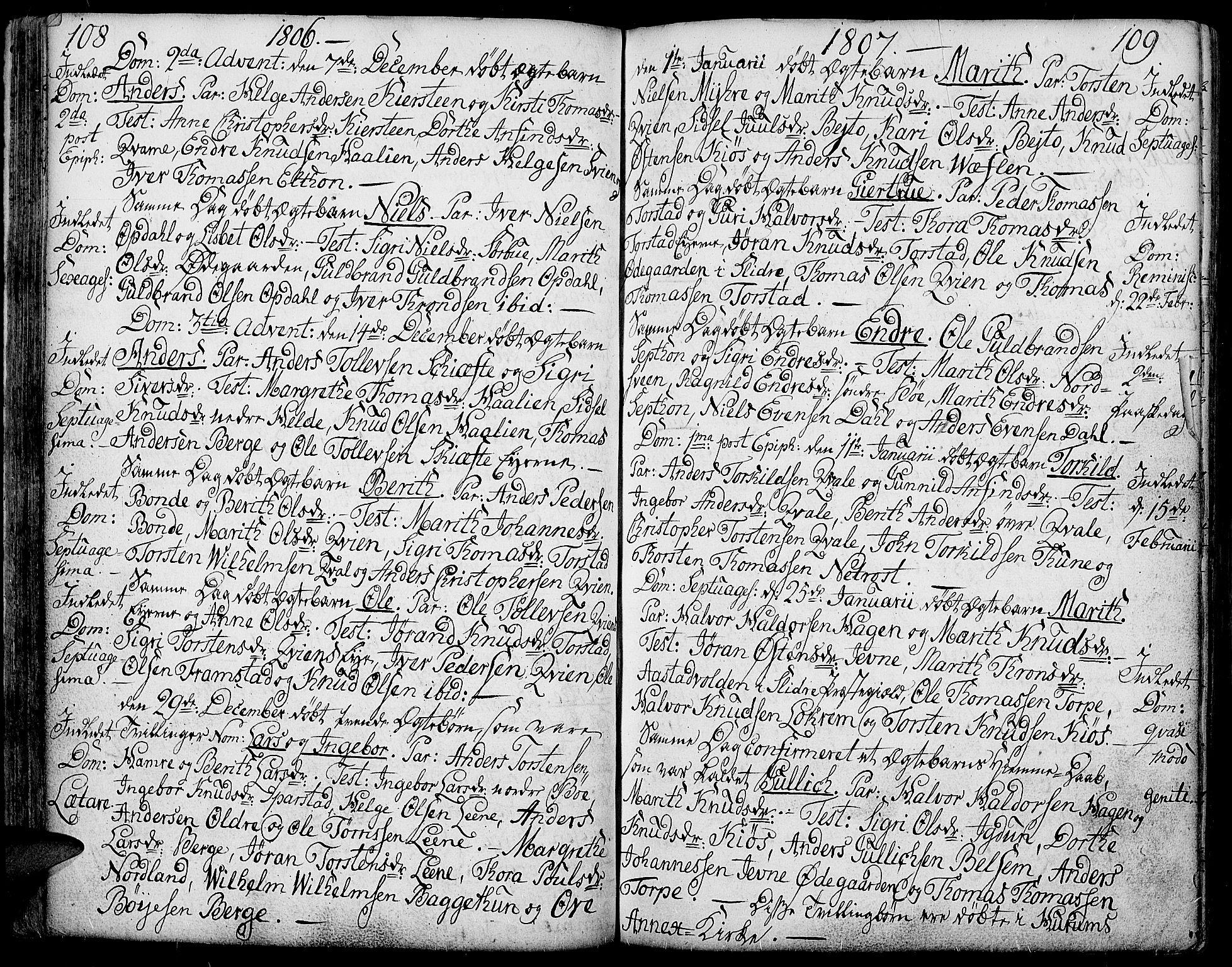 SAH, Vang prestekontor, Valdres, Ministerialbok nr. 2, 1796-1808, s. 108-109
