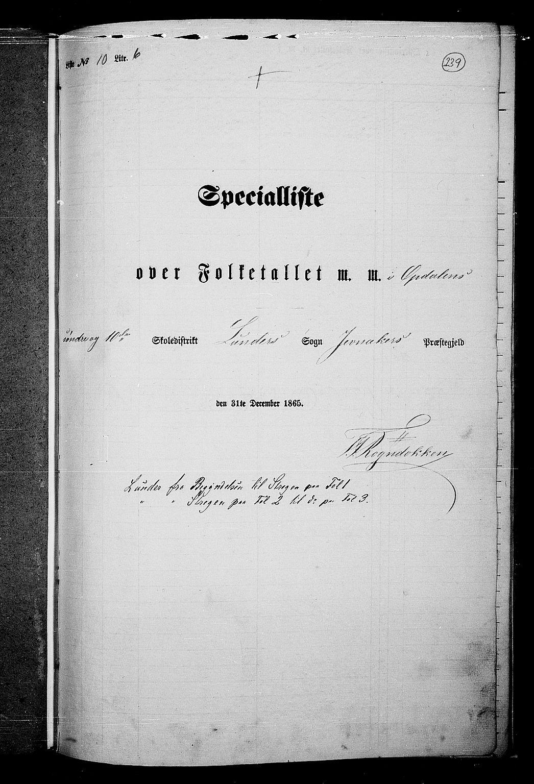 RA, Folketelling 1865 for 0532P Jevnaker prestegjeld, 1865, s. 223