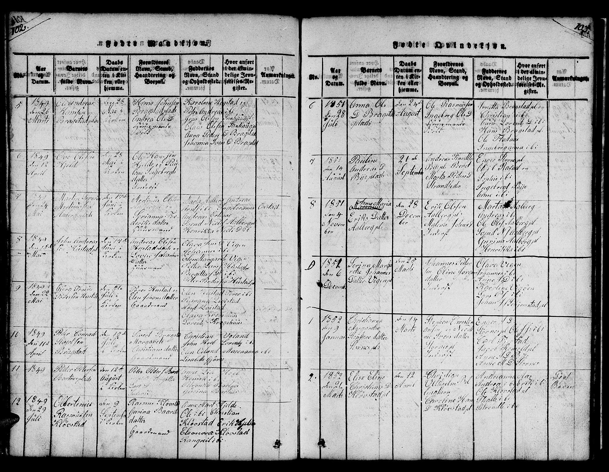SAT, Ministerialprotokoller, klokkerbøker og fødselsregistre - Nord-Trøndelag, 732/L0317: Klokkerbok nr. 732C01, 1816-1881, s. 102-103