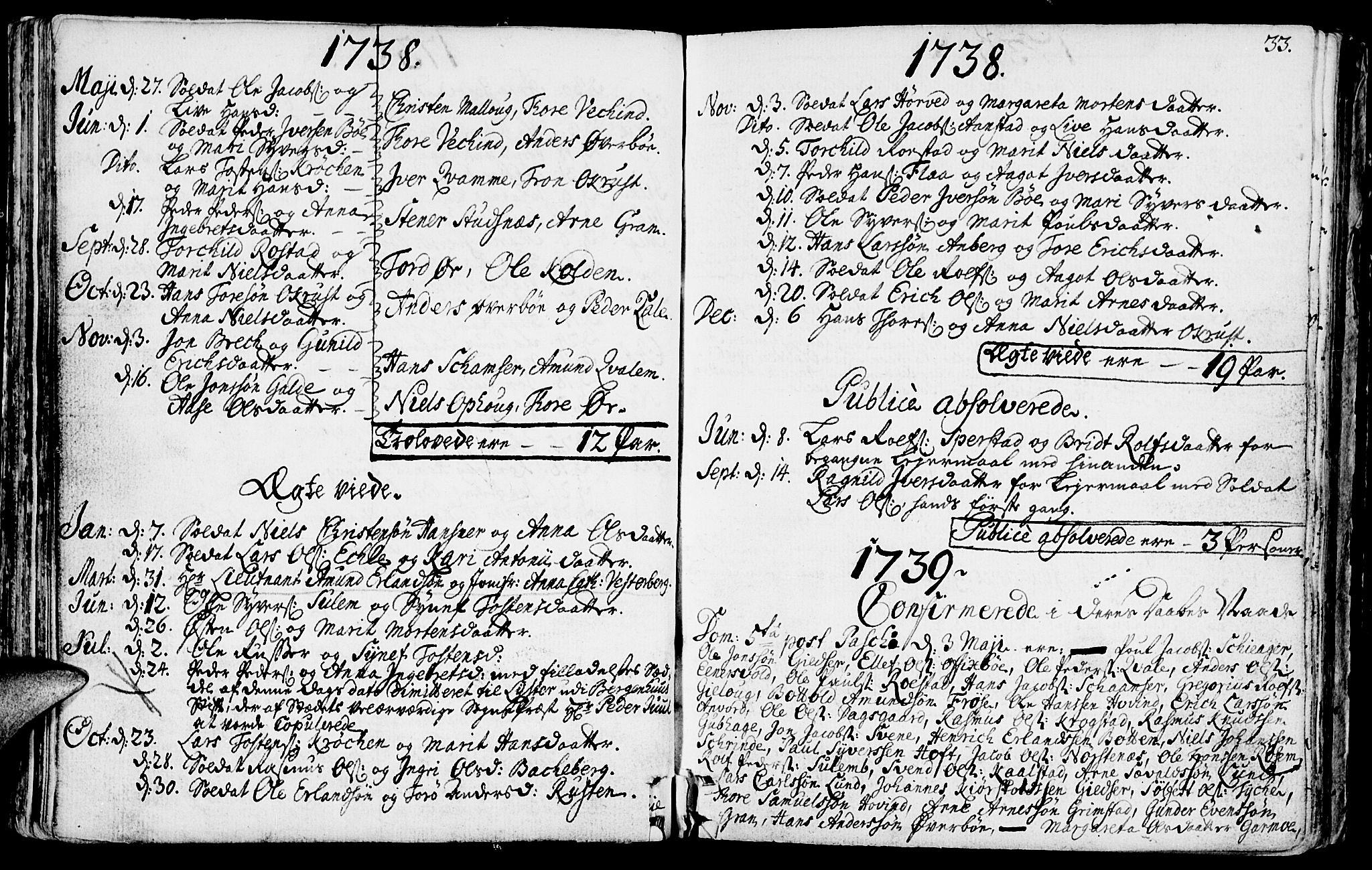 SAH, Lom prestekontor, K/L0001: Ministerialbok nr. 1, 1733-1748, s. 33