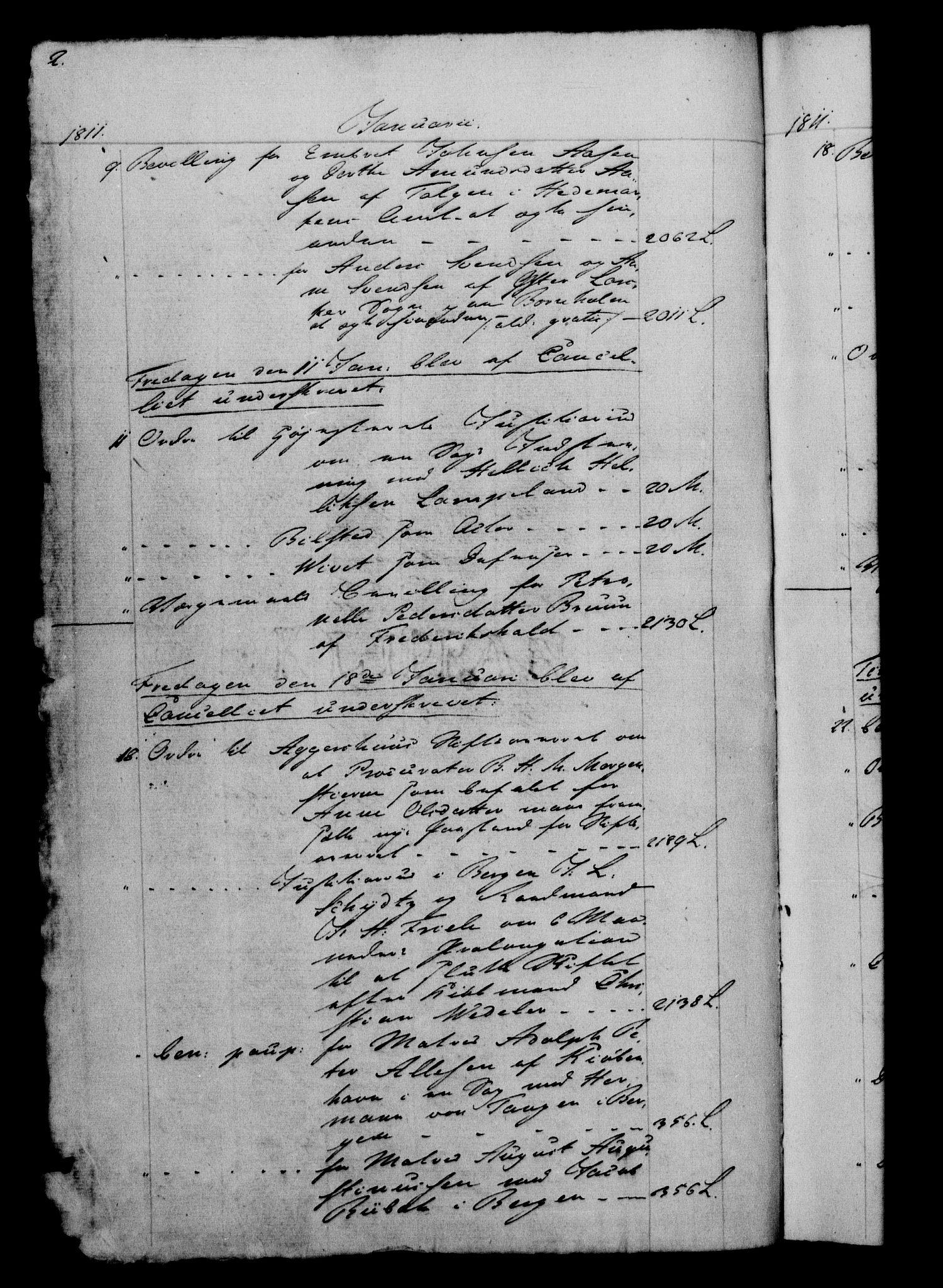 RA, Danske Kanselli 1800-1814, H/Hf/Hfb/Hfbc/L0012: Underskrivelsesbok m. register, 1811, s. 2
