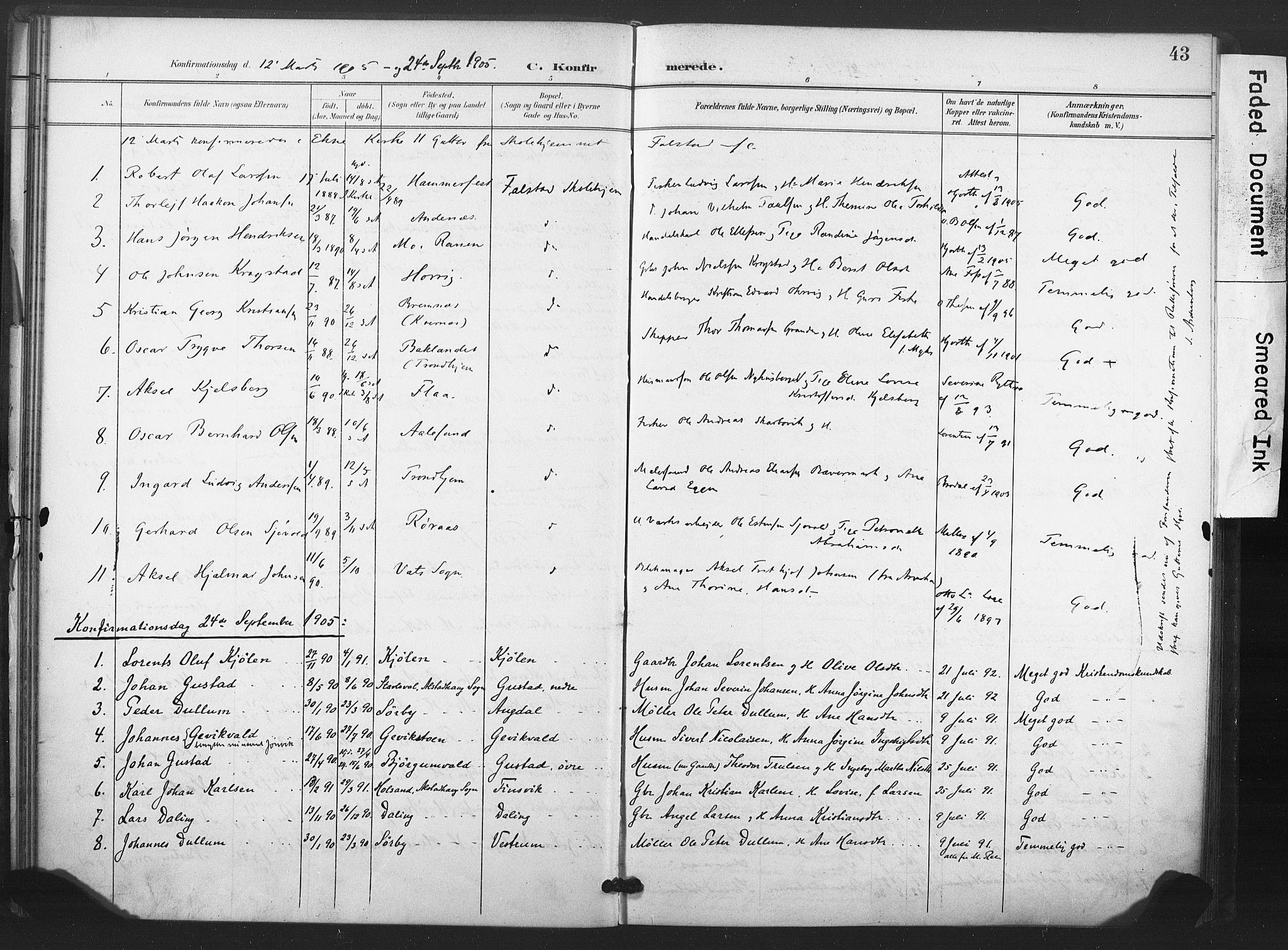 SAT, Ministerialprotokoller, klokkerbøker og fødselsregistre - Nord-Trøndelag, 719/L0179: Ministerialbok nr. 719A02, 1901-1923, s. 43