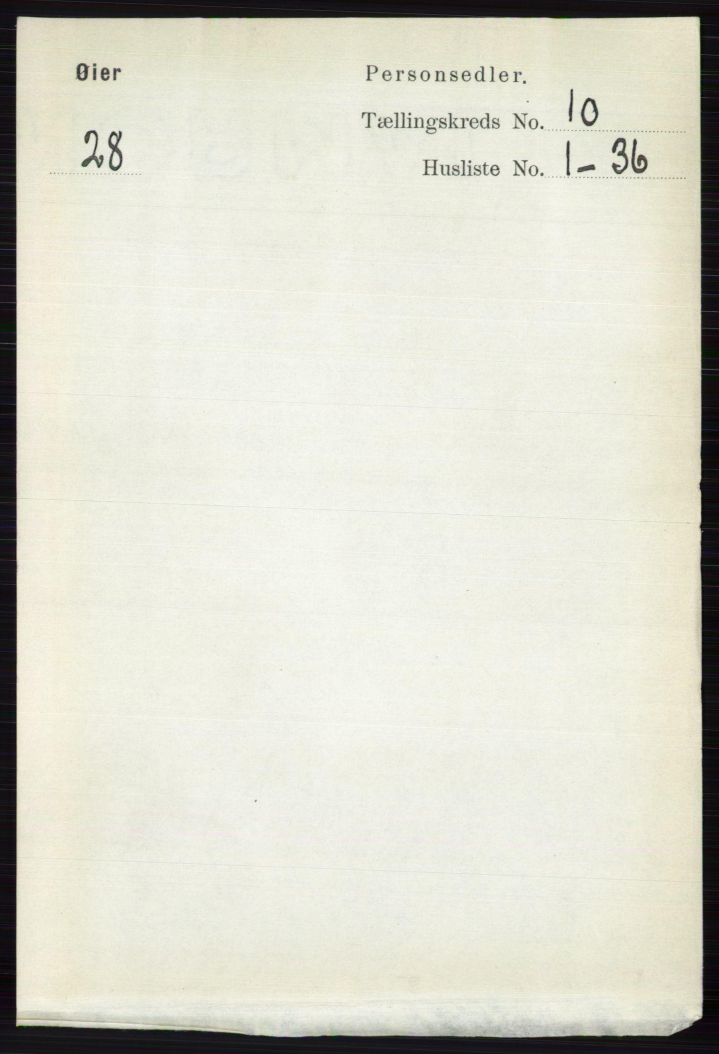 RA, Folketelling 1891 for 0521 Øyer herred, 1891, s. 3563
