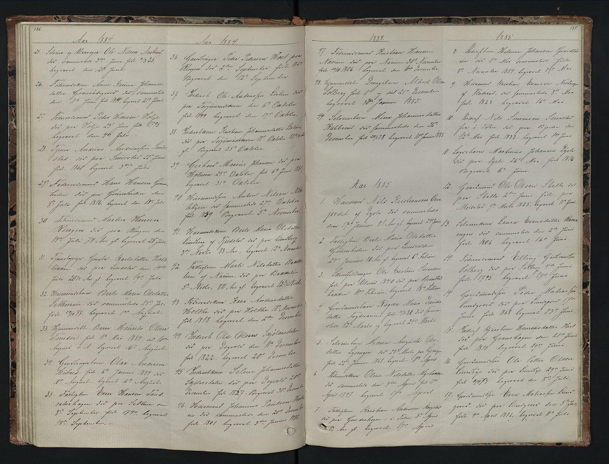 SAH, Vestre Toten prestekontor, H/Ha/Hab/L0007: Klokkerbok nr. 7, 1872-1900, s. 136-137