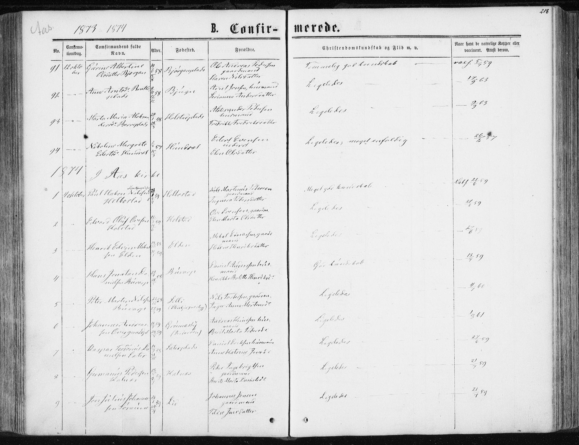 SAT, Ministerialprotokoller, klokkerbøker og fødselsregistre - Nord-Trøndelag, 741/L0394: Ministerialbok nr. 741A08, 1864-1877, s. 218
