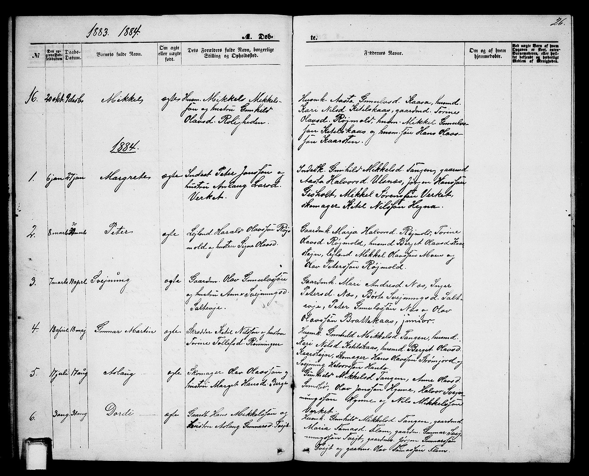 SAKO, Lunde kirkebøker, G/Gb/L0001: Klokkerbok nr. II 1, 1866-1887, s. 26