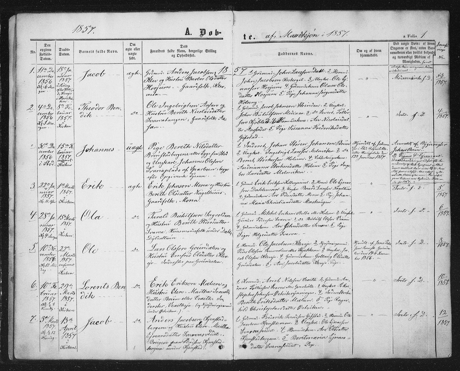 SAT, Ministerialprotokoller, klokkerbøker og fødselsregistre - Nord-Trøndelag, 749/L0472: Ministerialbok nr. 749A06, 1857-1873, s. 1
