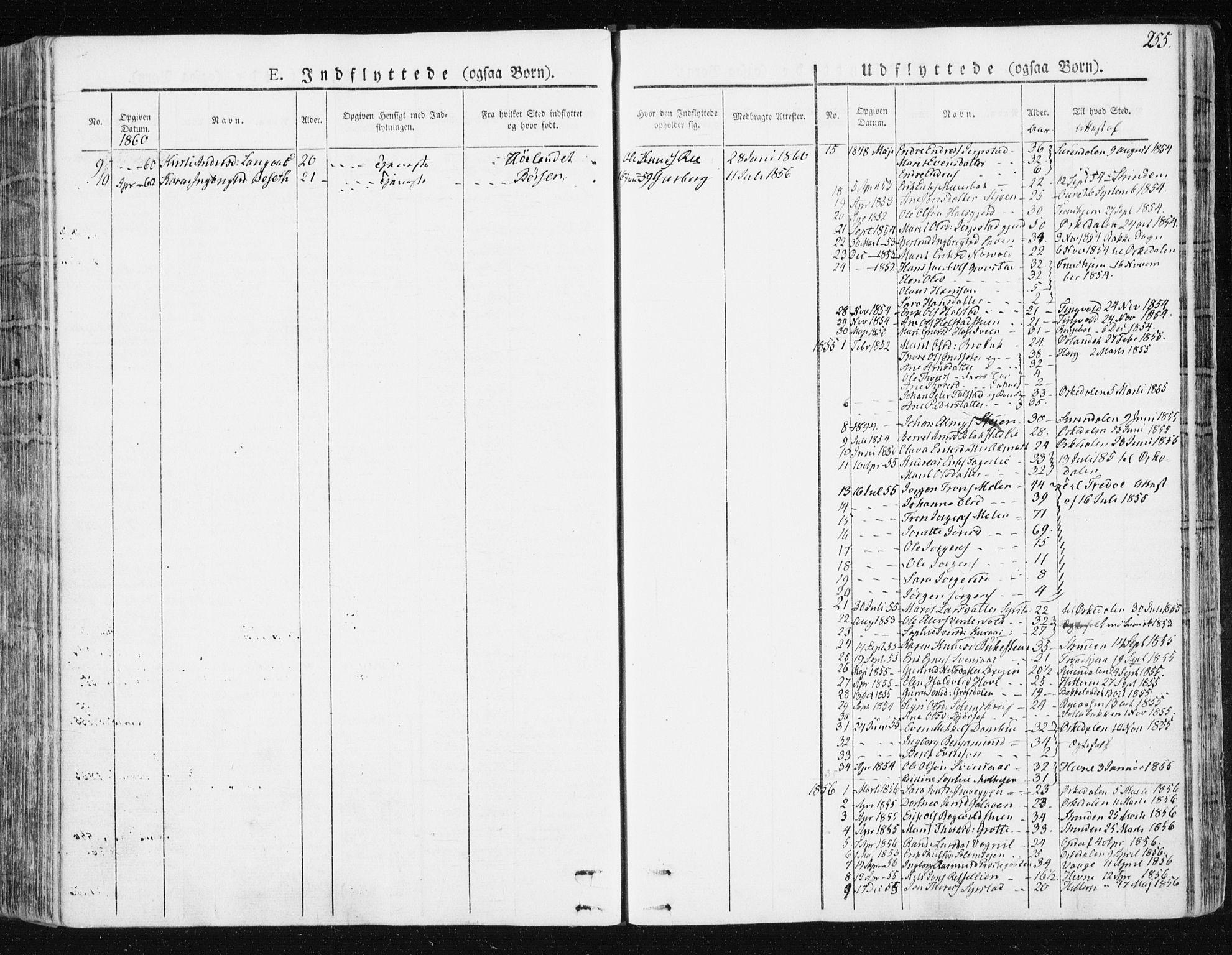 SAT, Ministerialprotokoller, klokkerbøker og fødselsregistre - Sør-Trøndelag, 672/L0855: Ministerialbok nr. 672A07, 1829-1860, s. 255