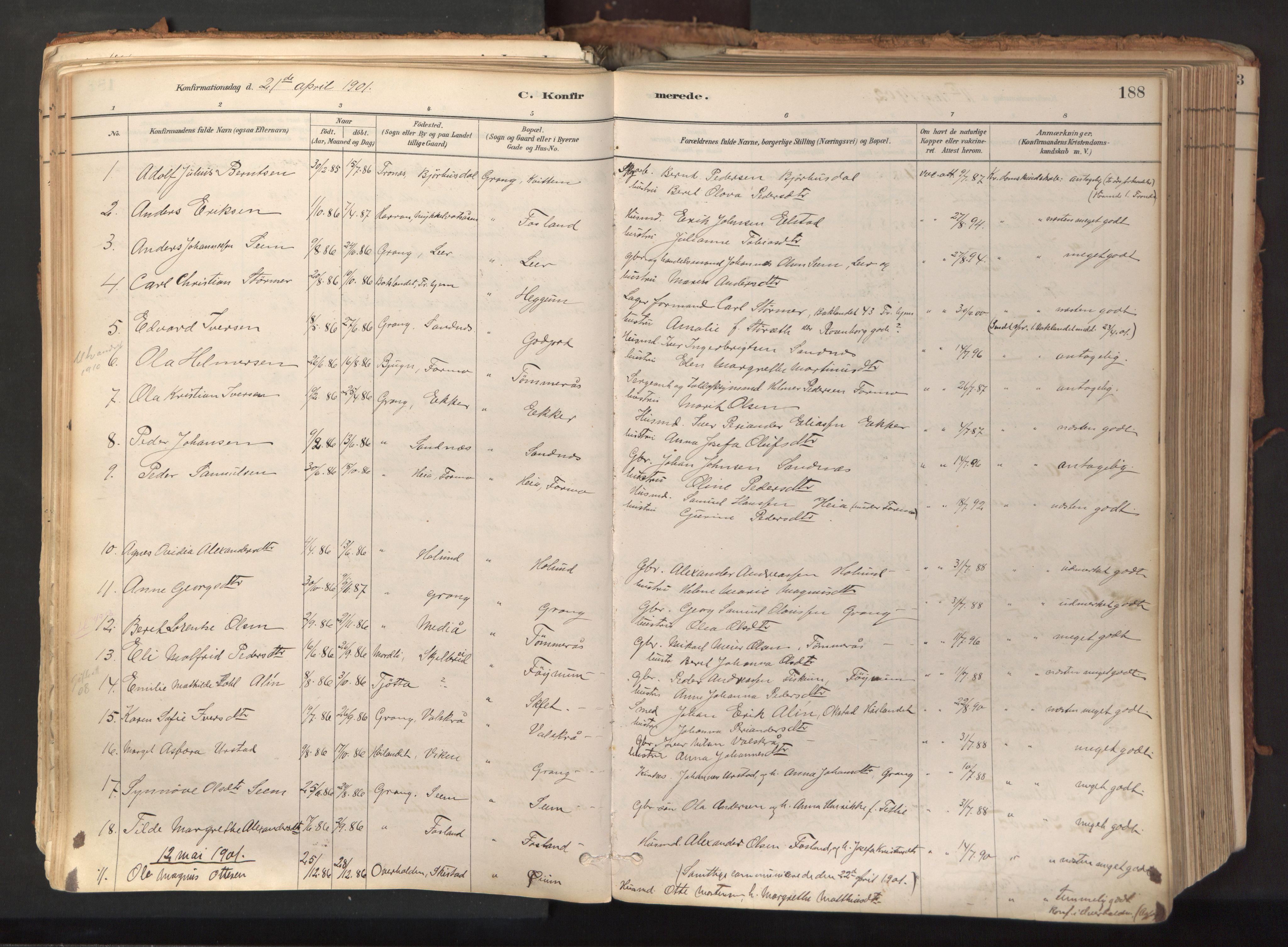 SAT, Ministerialprotokoller, klokkerbøker og fødselsregistre - Nord-Trøndelag, 758/L0519: Ministerialbok nr. 758A04, 1880-1926, s. 188