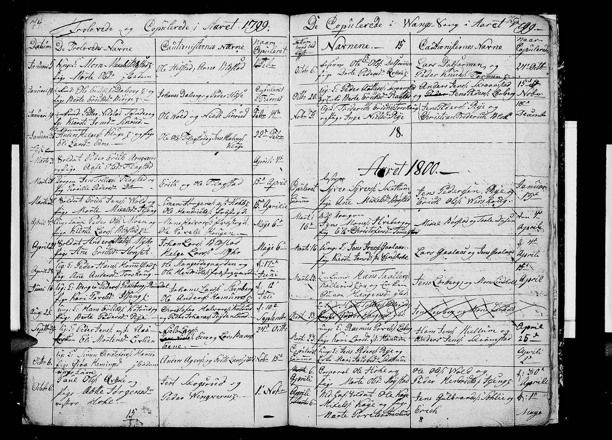 SAH, Vang prestekontor, Hedmark, H/Ha/Hab/L0002: Klokkerbok nr. 2, 1797-1803, s. 74-75