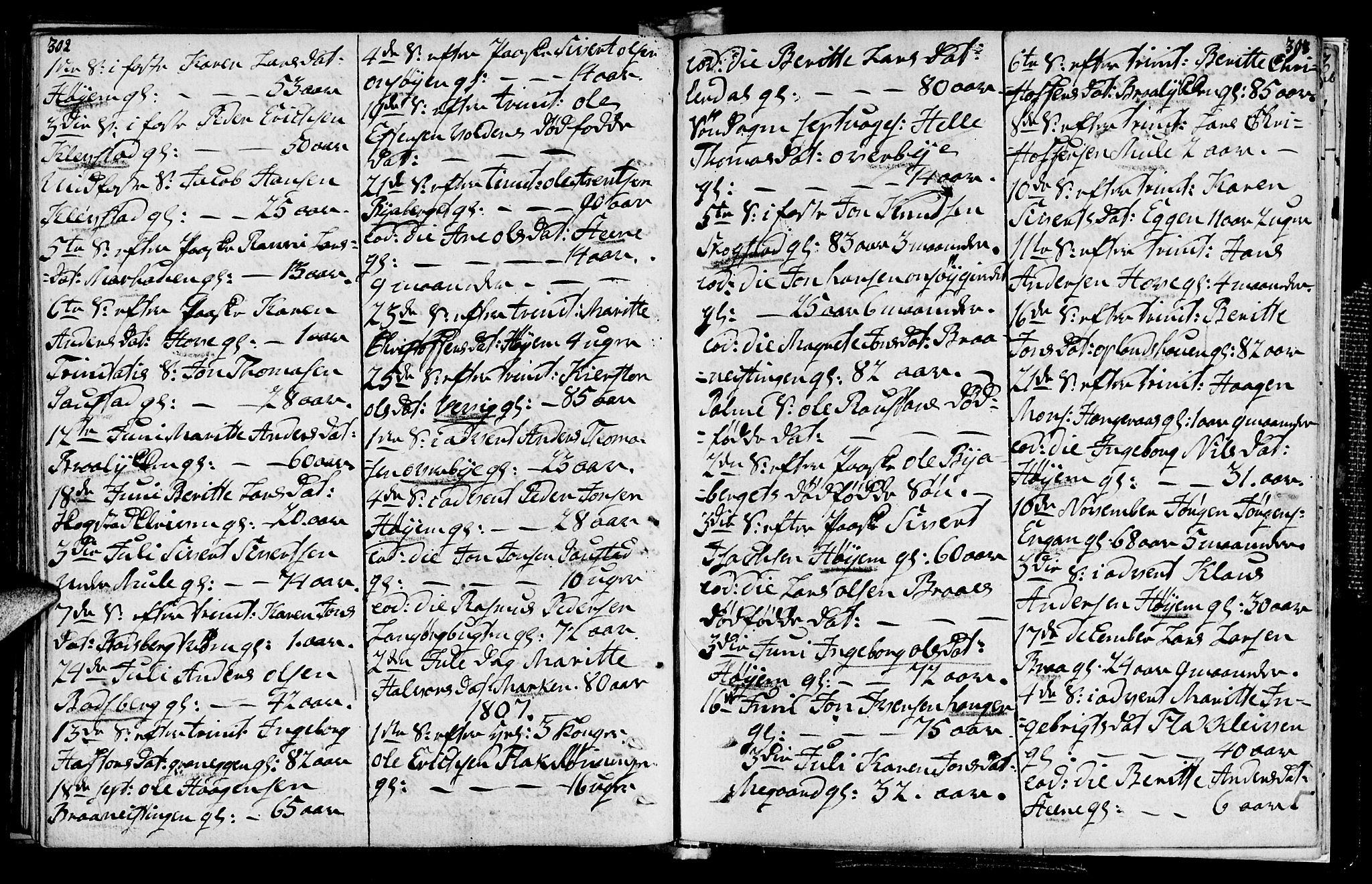 SAT, Ministerialprotokoller, klokkerbøker og fødselsregistre - Sør-Trøndelag, 612/L0371: Ministerialbok nr. 612A05, 1803-1816, s. 302-303